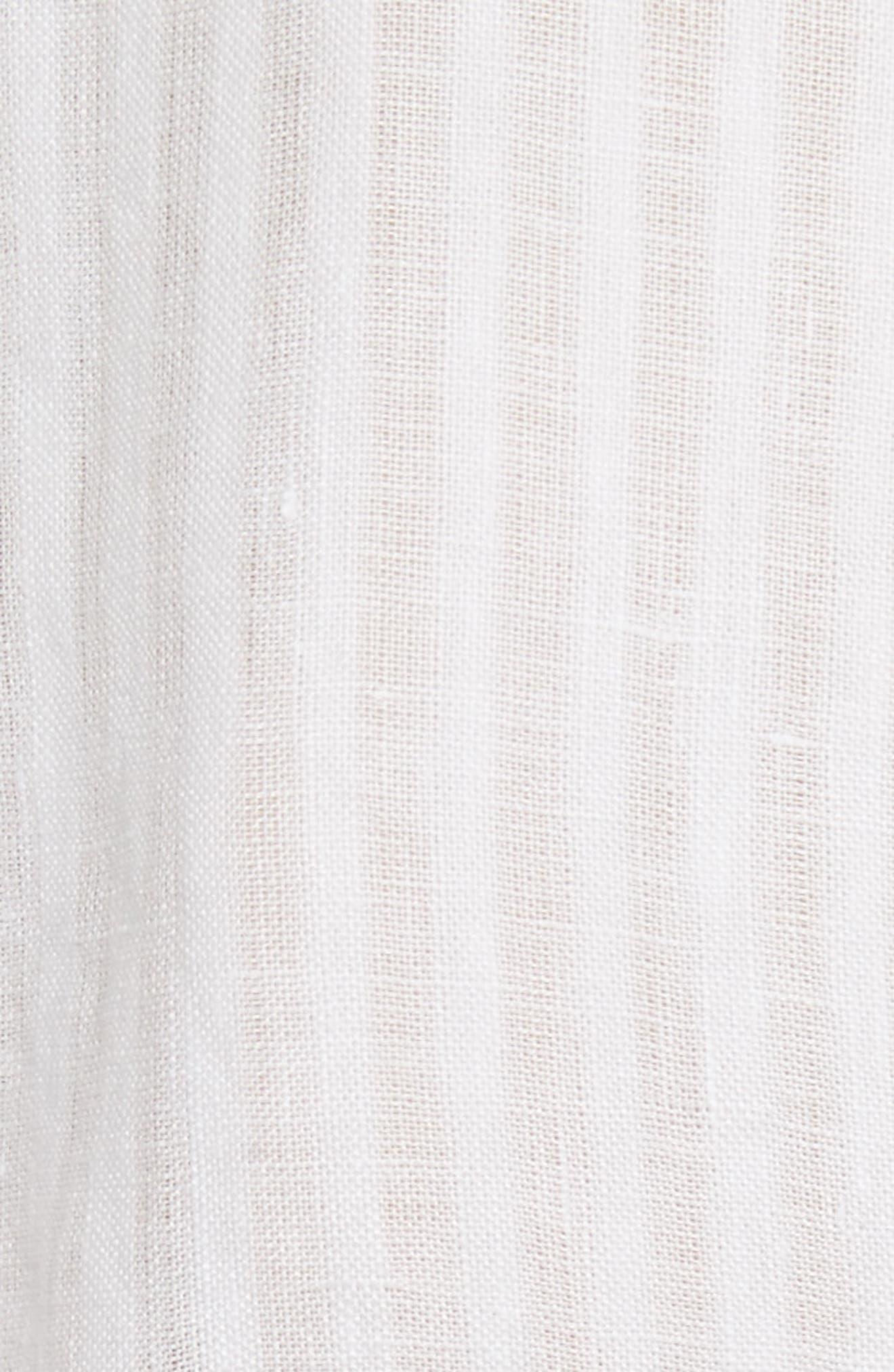 Belted Linen Dress,                             Alternate thumbnail 5, color,                             Blanc