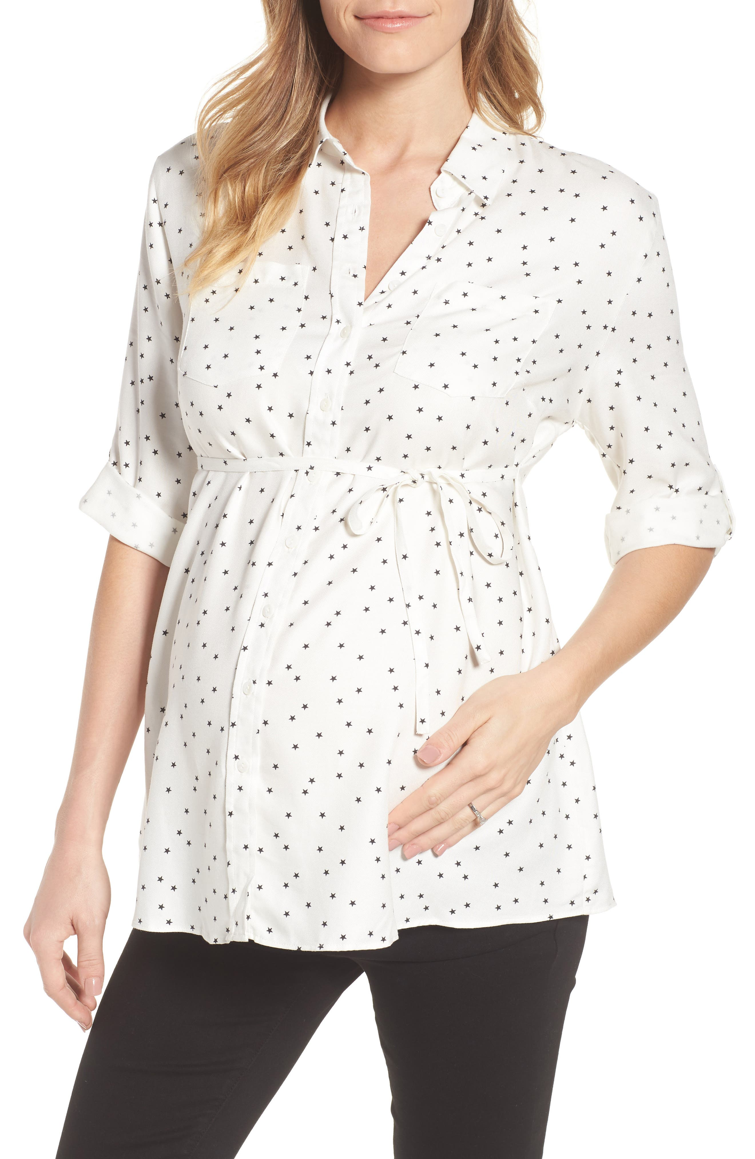 Selina Maternity Shirt,                             Main thumbnail 1, color,                             Off White Star Print