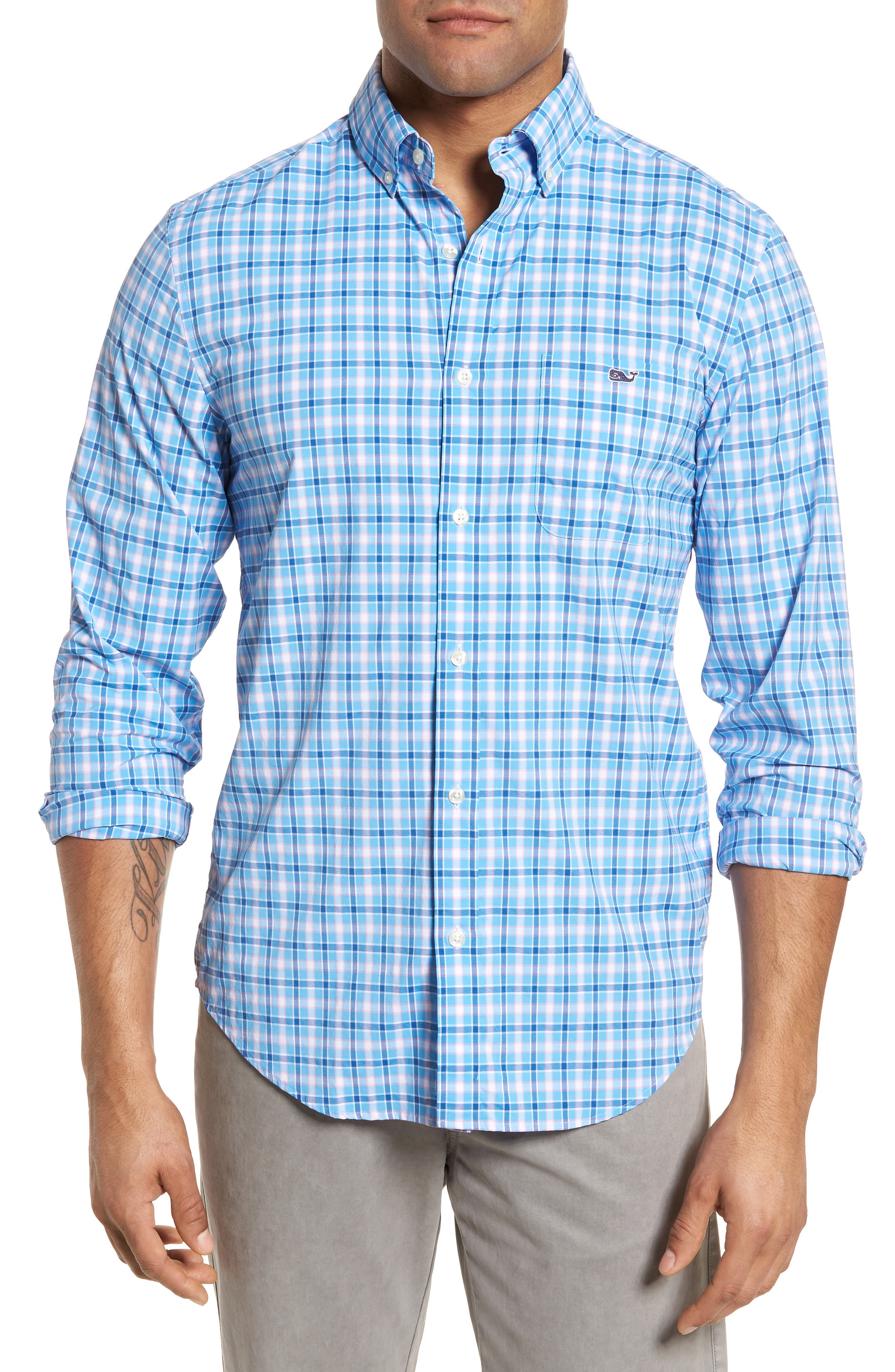 Lyford Cay Classic Fit Stretch Check Sport Shirt,                         Main,                         color, Ocean Breeze