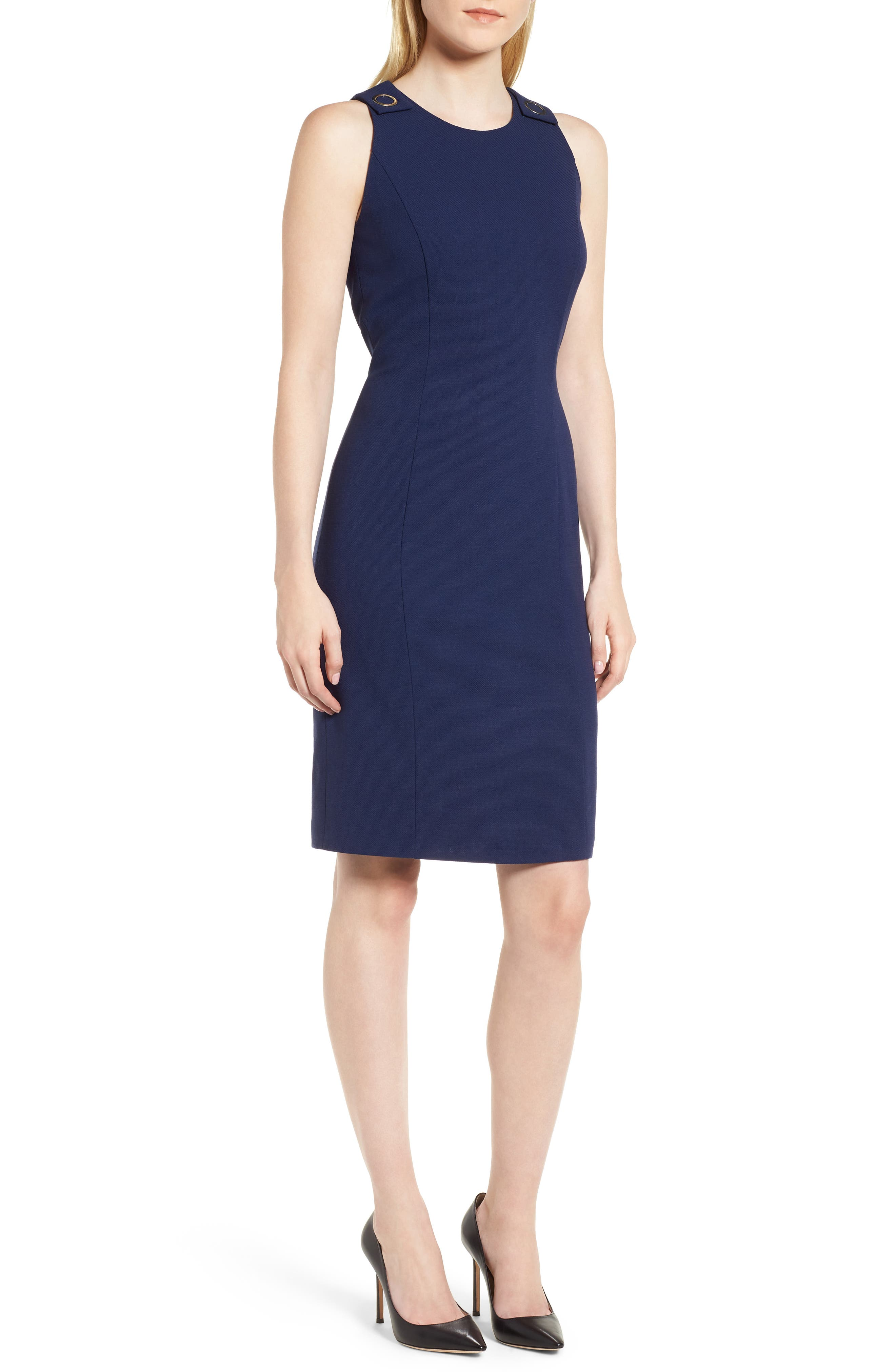 Dibalena Texture Stretch Dress,                         Main,                         color, Nautical