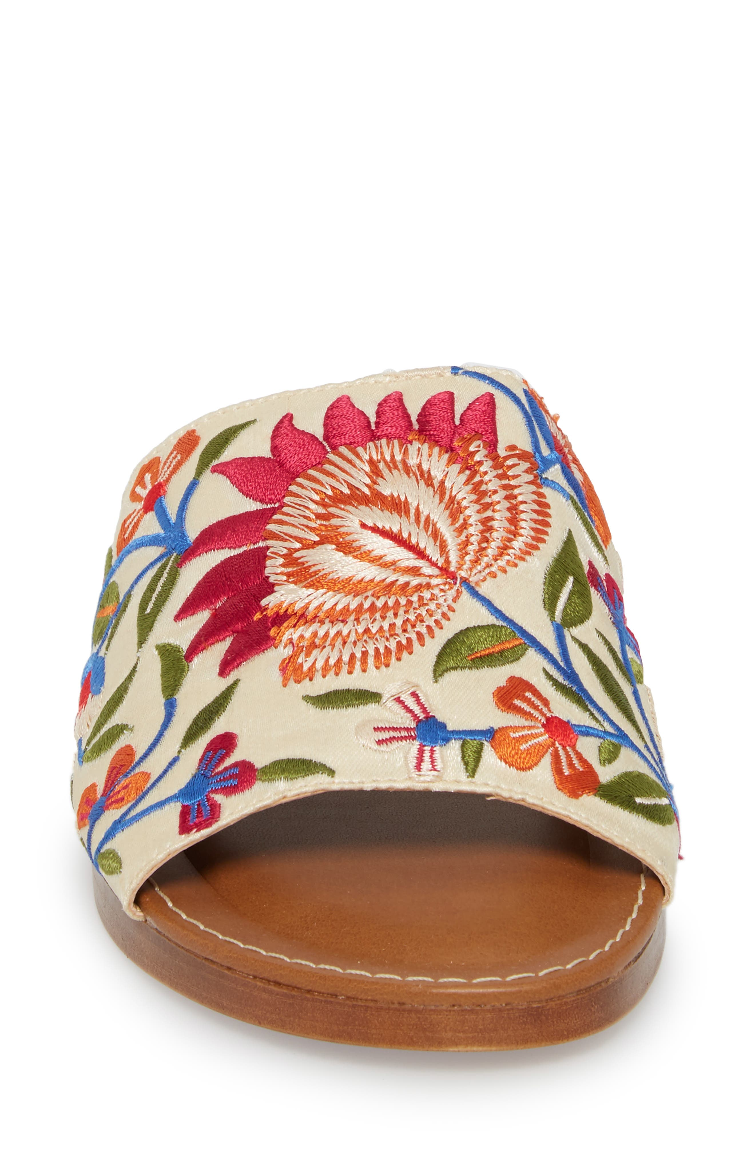 Abi Slide Sandal,                             Alternate thumbnail 4, color,                             Beige Embroidered Fabric