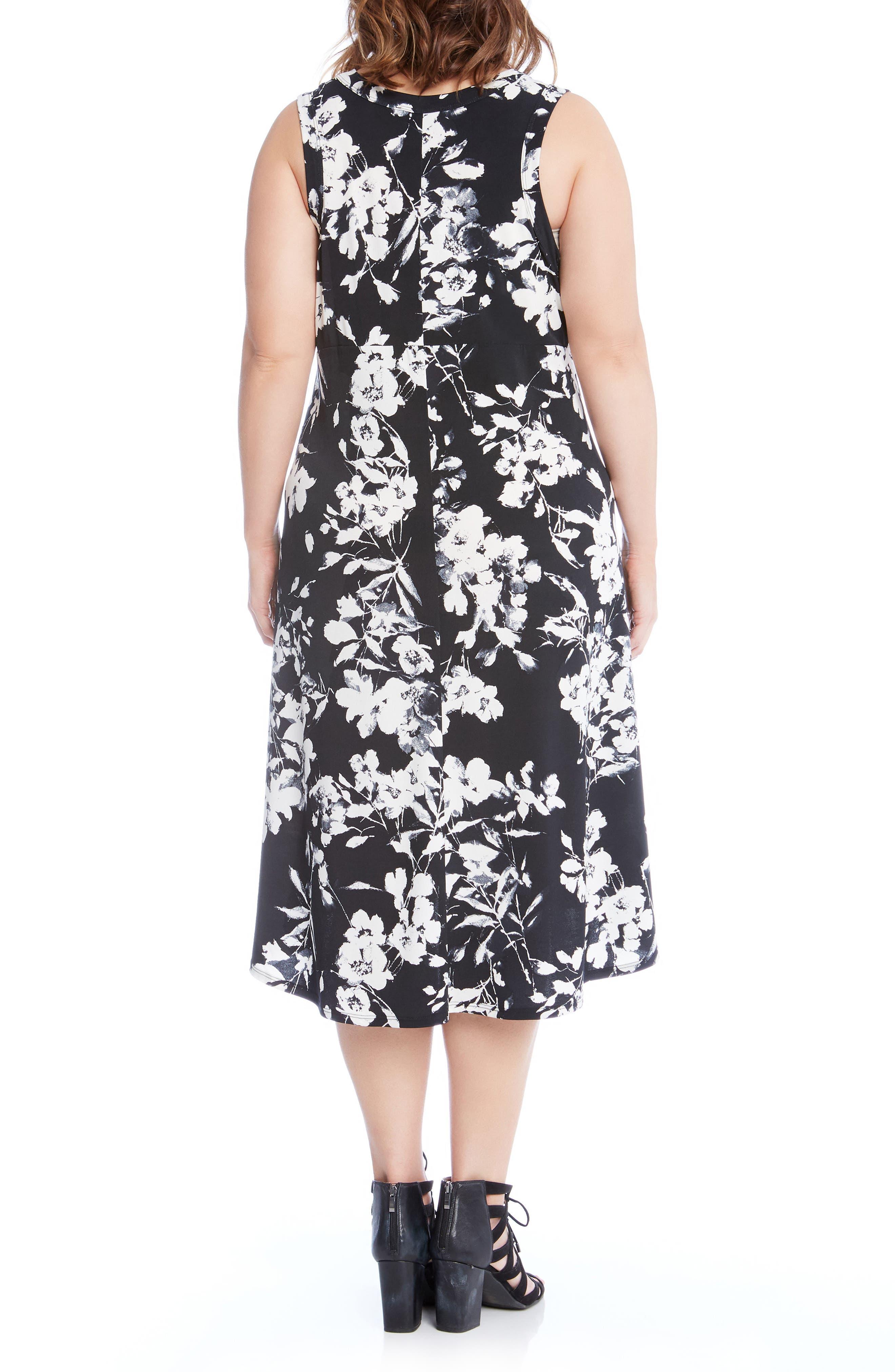Floral High/Low A-Line Dress,                             Alternate thumbnail 2, color,                             Black