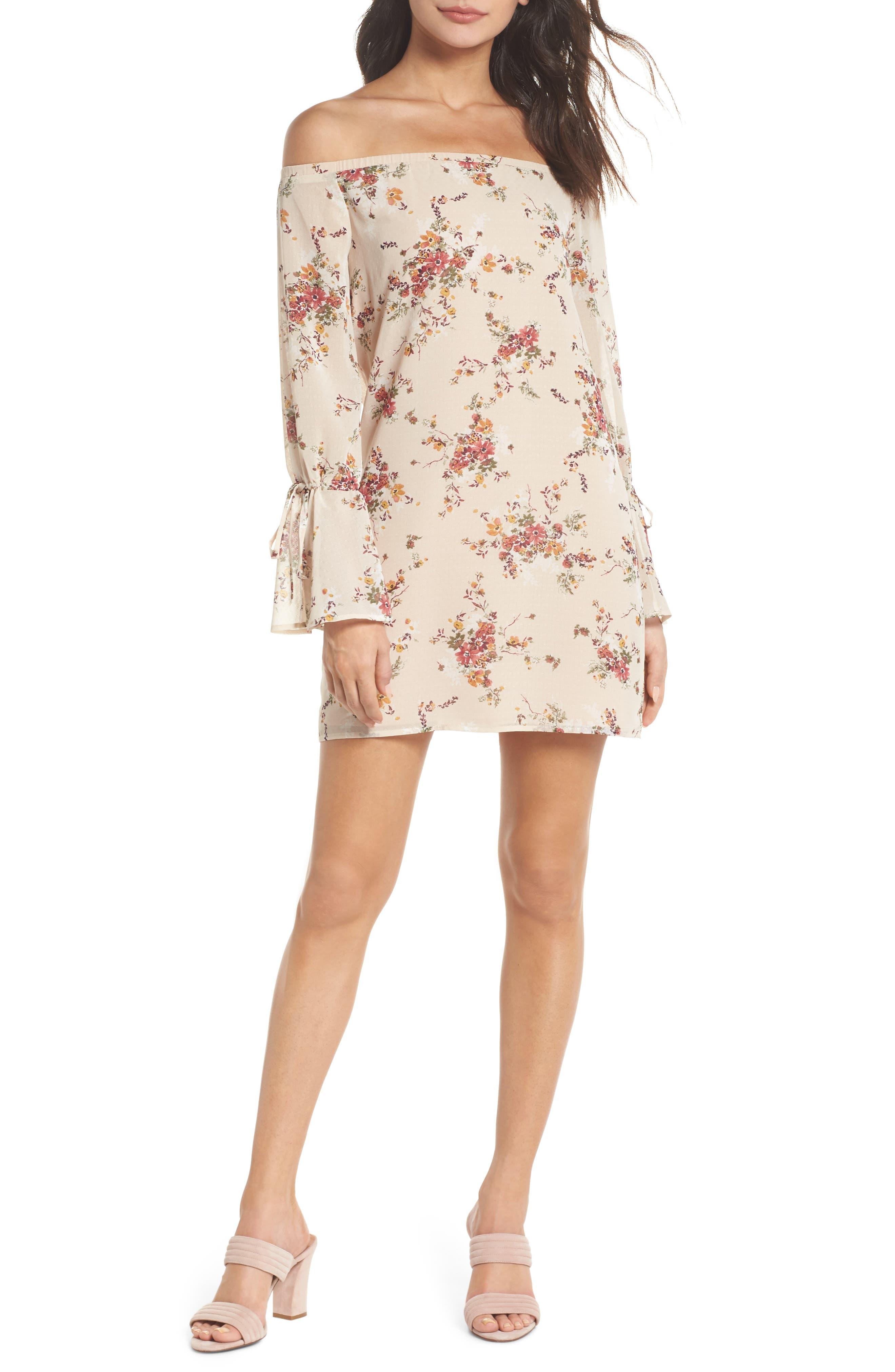 It's Love Floral Off the Shoulder Shift Dress,                         Main,                         color, Crme Vintage Bouquet