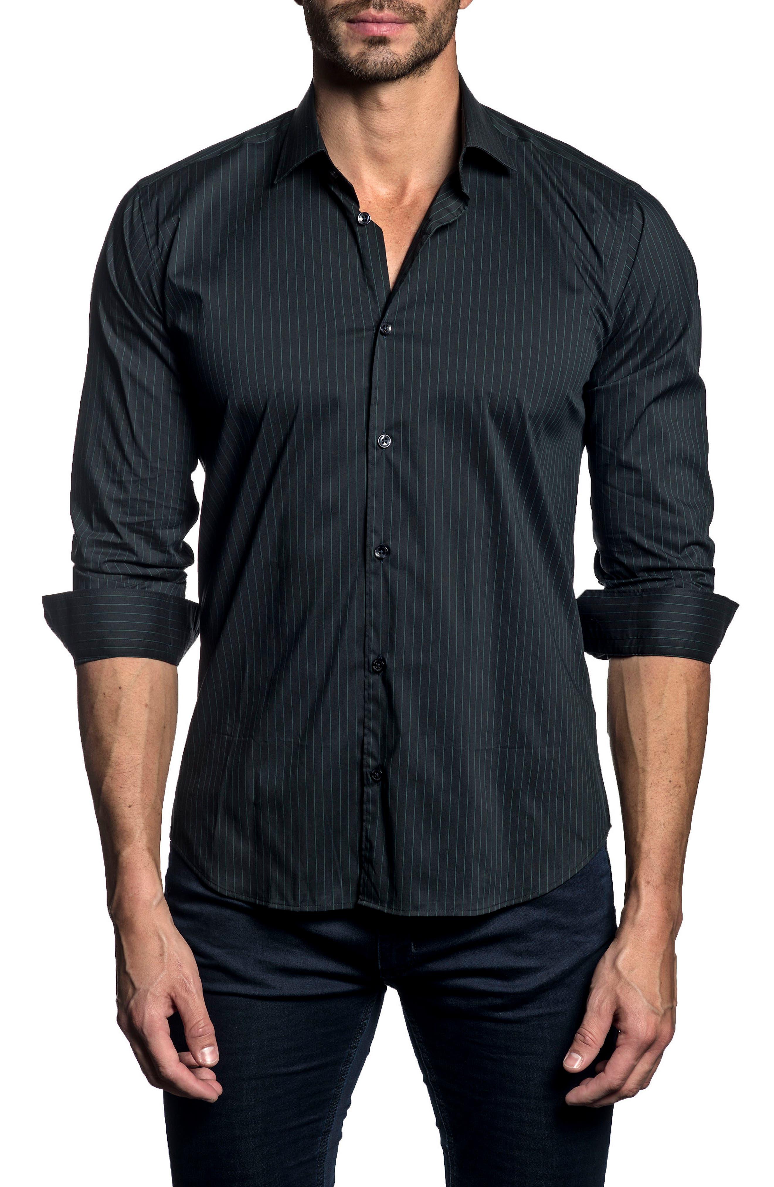 Jared Lang Trim Fit Pinstripe Sport Shirt