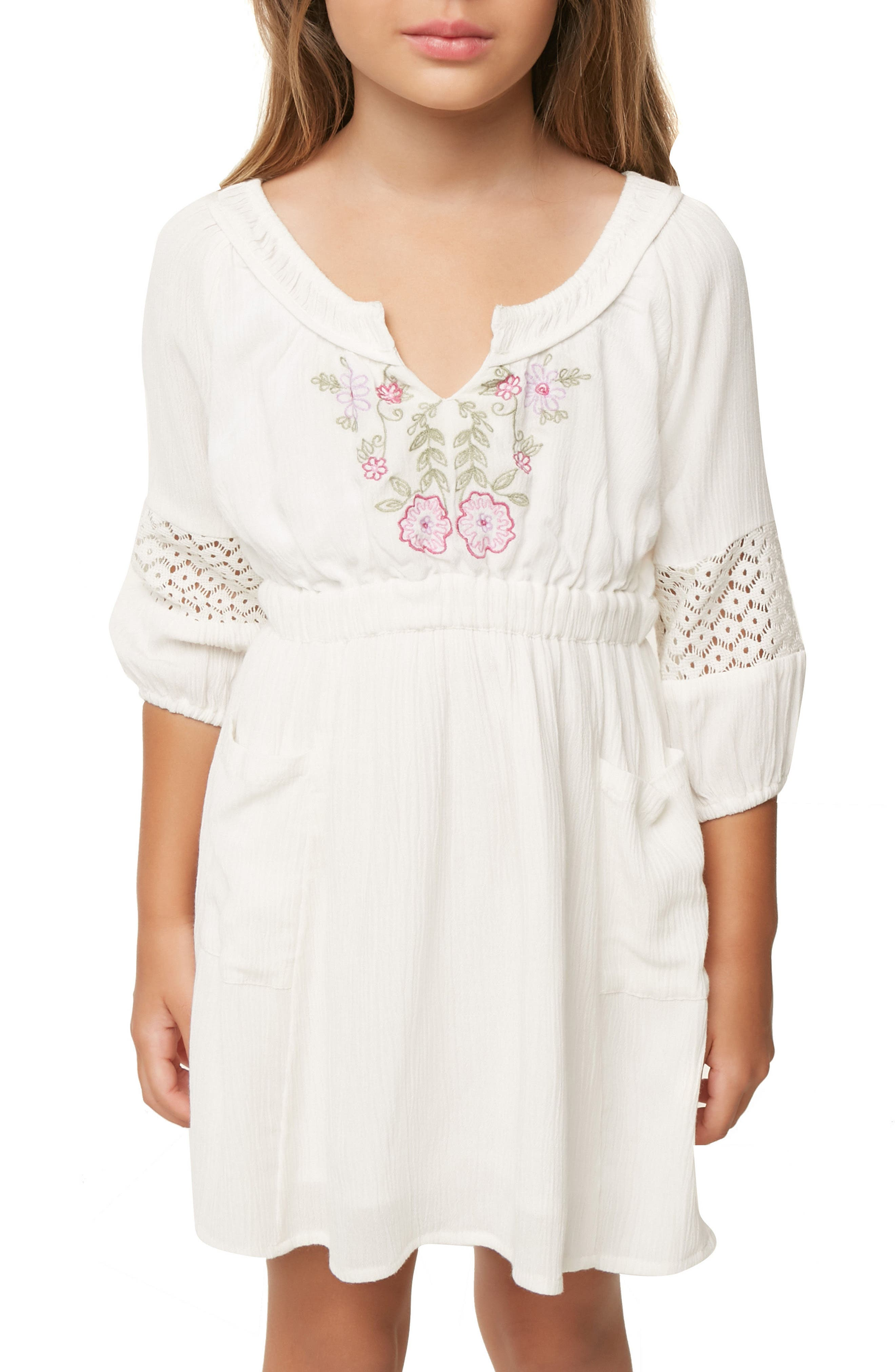 Malina Floral Embroidered Dress,                             Alternate thumbnail 5, color,                             White