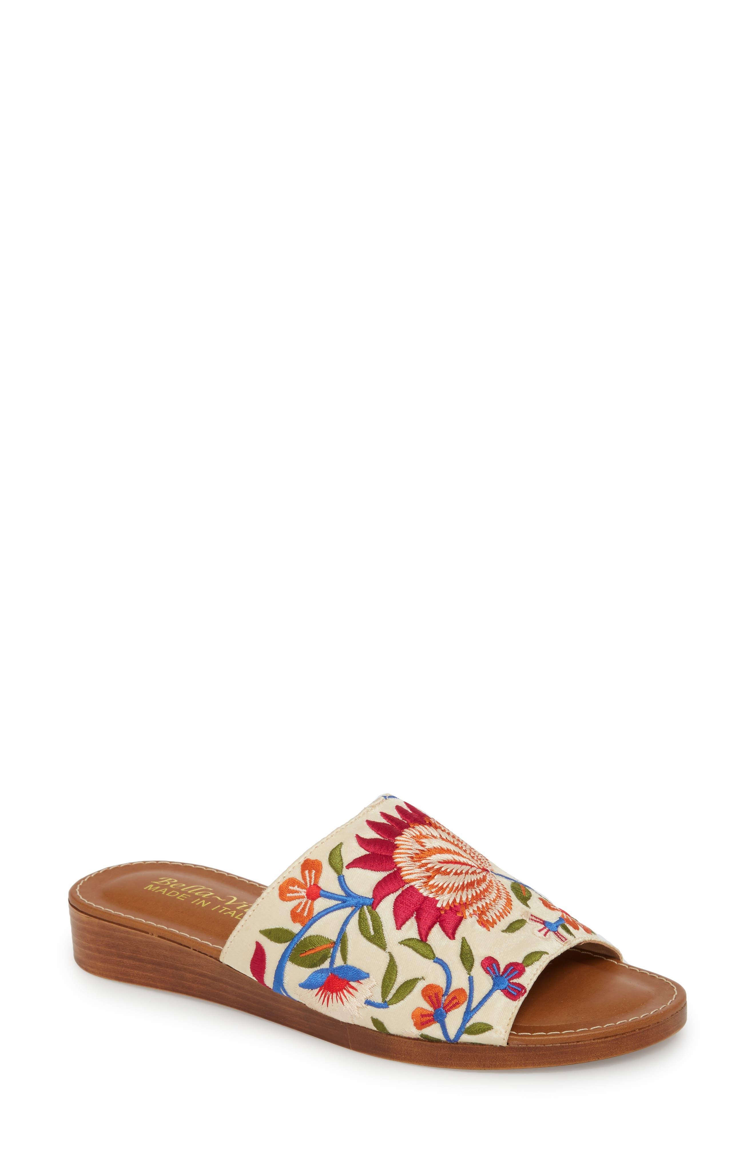 Abi Slide Sandal,                         Main,                         color, Beige Embroidered Fabric