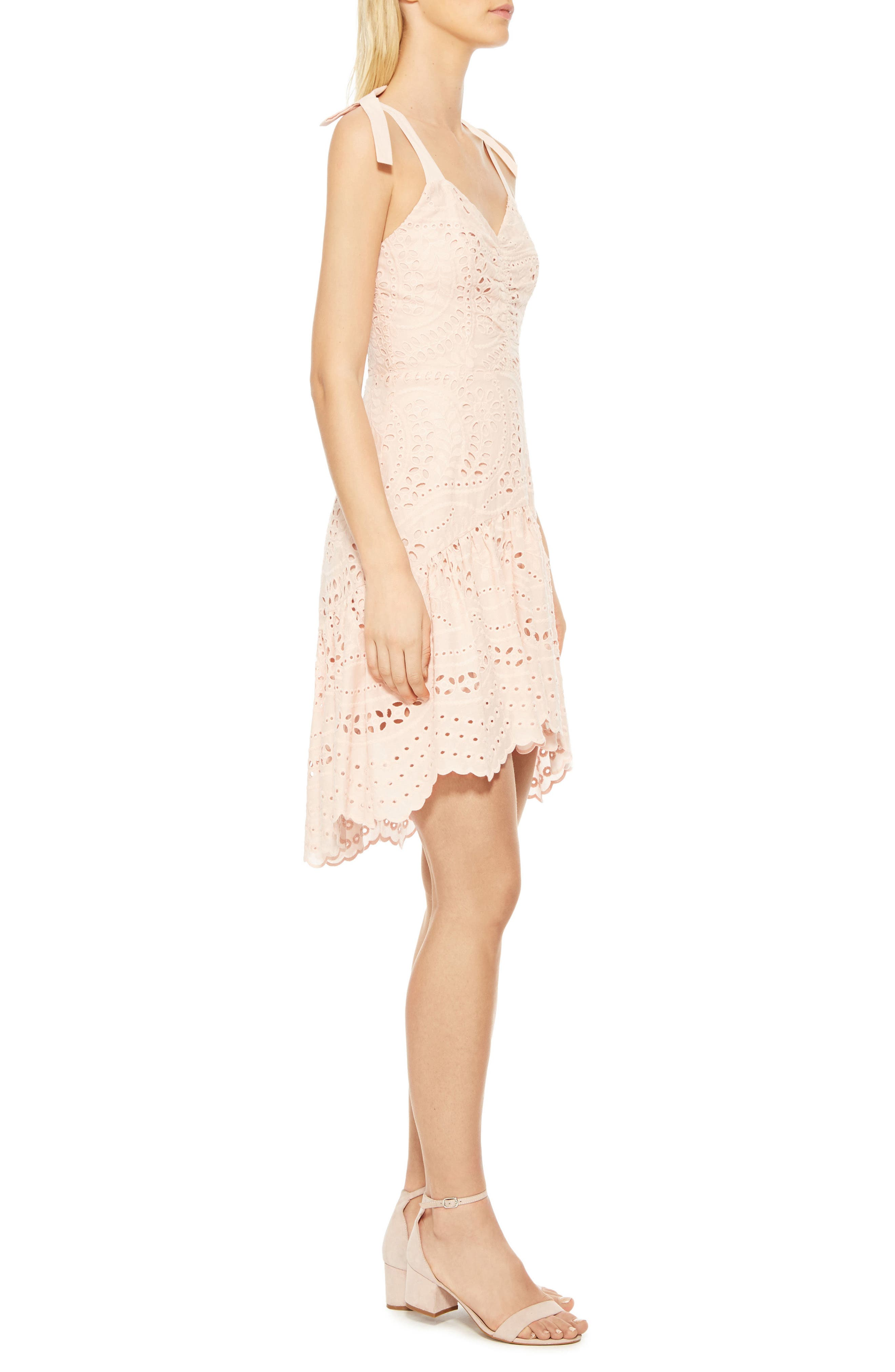 Odysseia Eyelet Cotton Dress,                             Alternate thumbnail 3, color,                             Pearl Blush