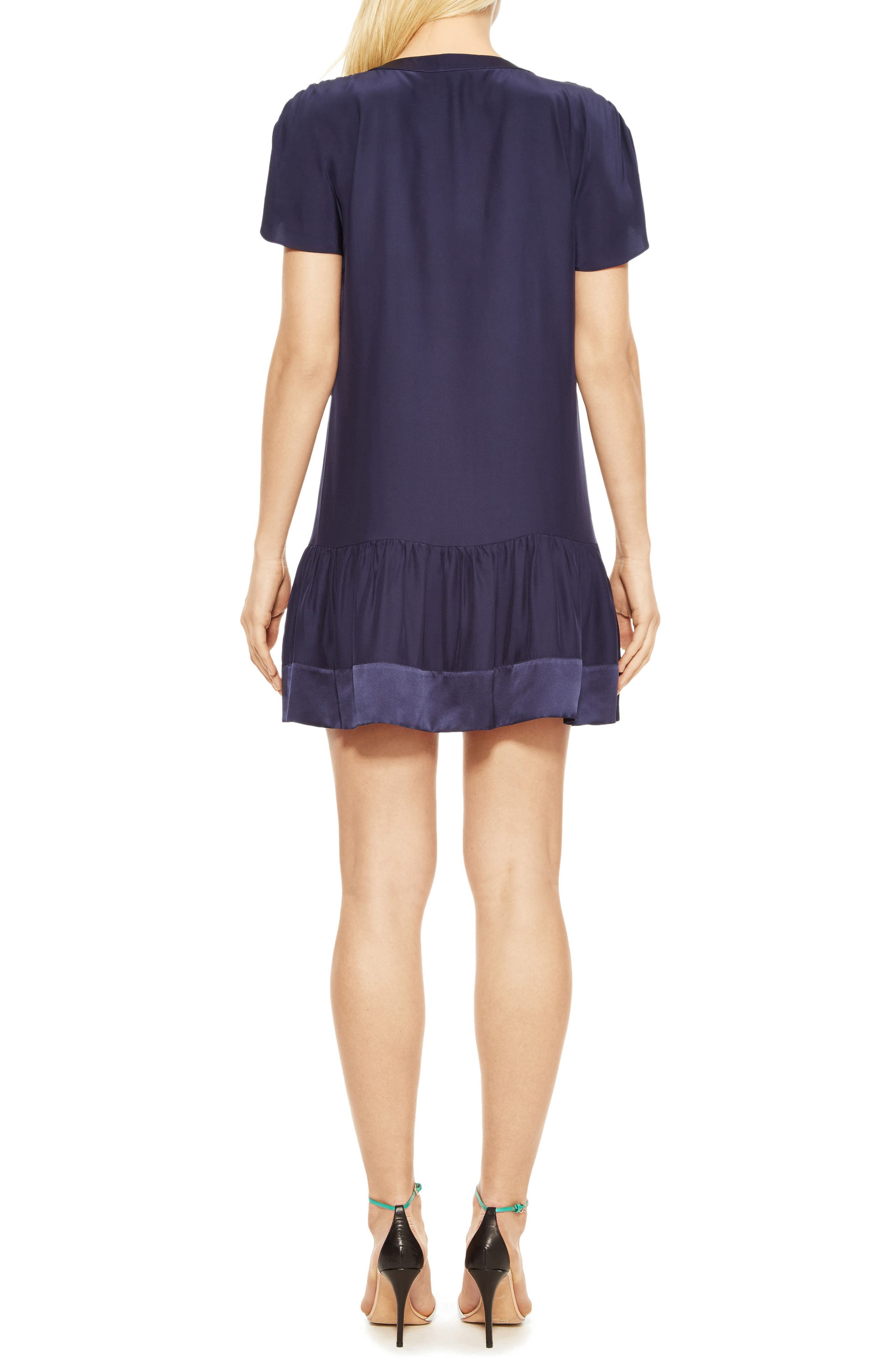 Stacey Silk Dress,                             Alternate thumbnail 2, color,                             Blue Horizon