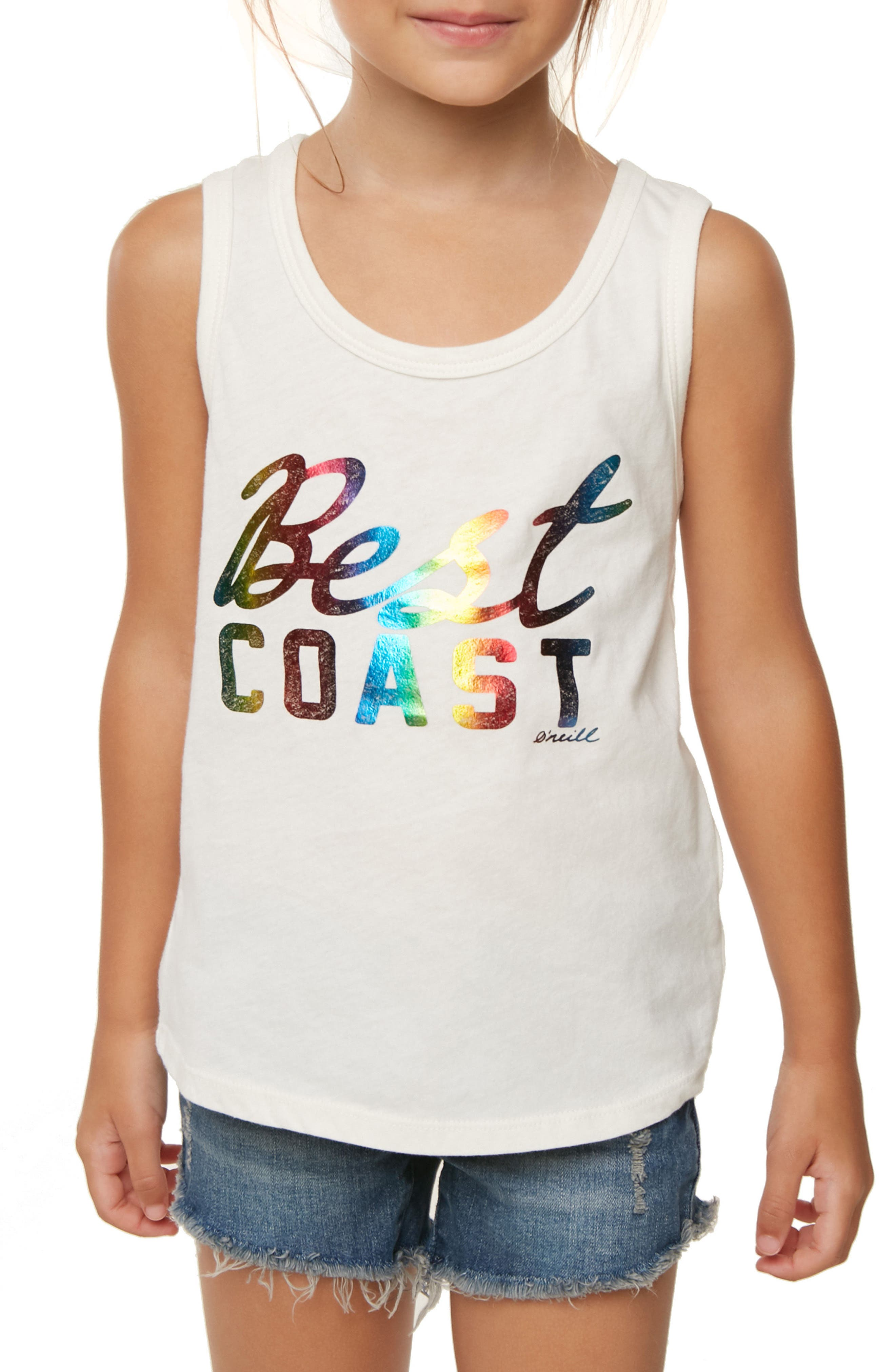Best Coast Rainbow Print Tank,                             Alternate thumbnail 3, color,                             White