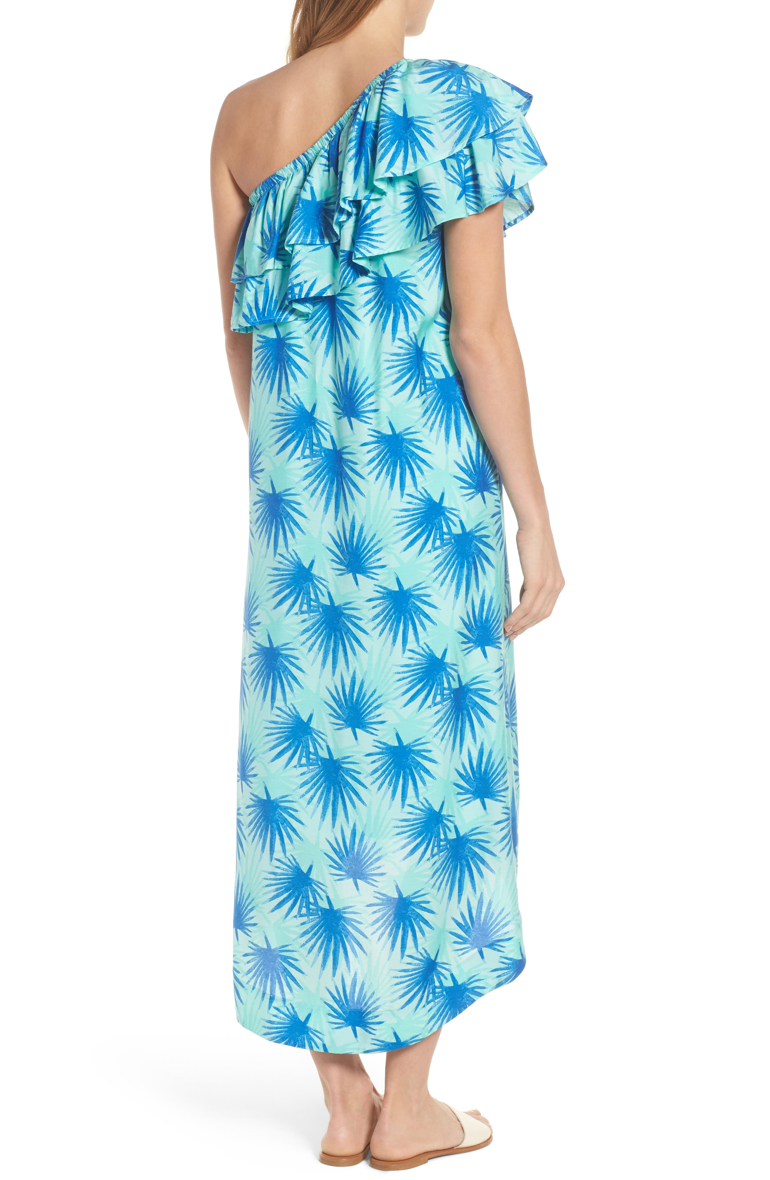 Electric Palm One-Shoulder Silk Blend Dress,                             Alternate thumbnail 2, color,                             Aquamarine