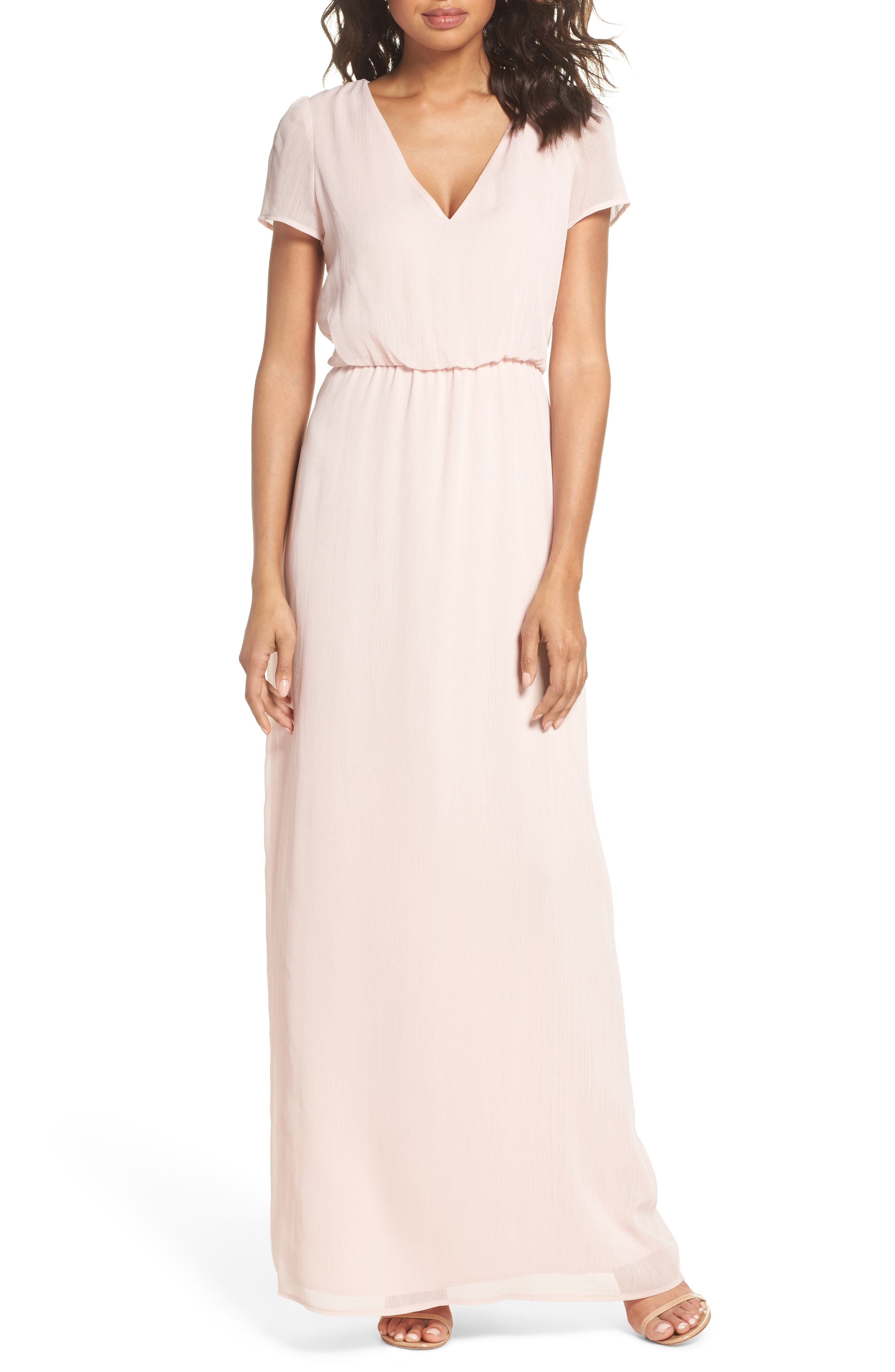 Anna Tie Back Gown,                             Main thumbnail 1, color,                             Ballet Pink