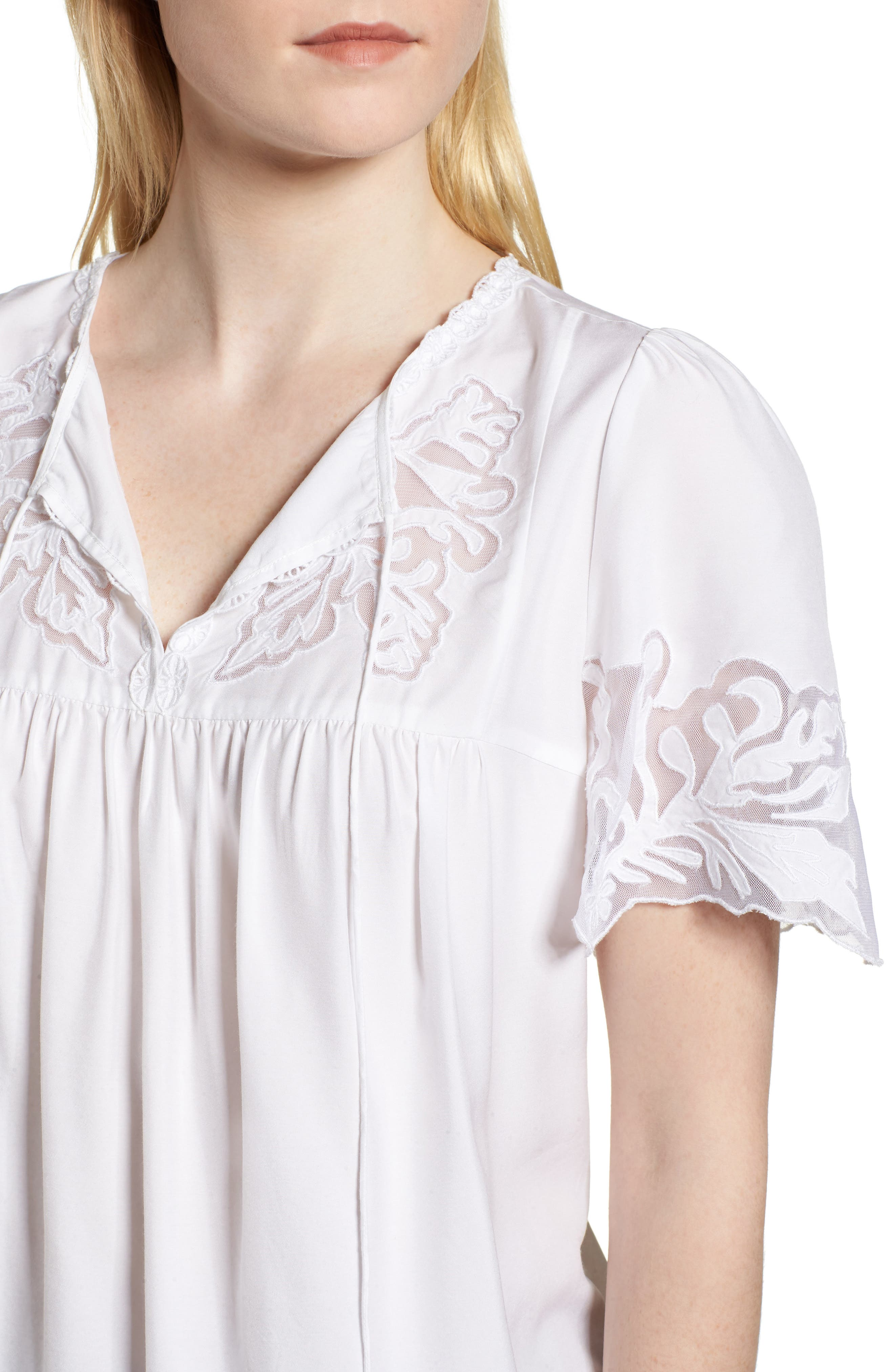 Embroidered Appliqué Top,                             Alternate thumbnail 4, color,                             White