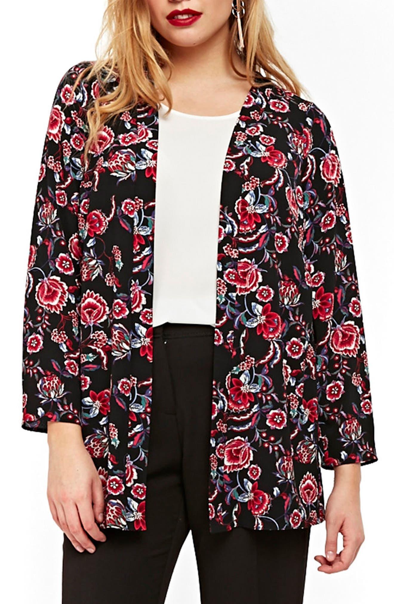 Floral Kimono Jacket,                             Main thumbnail 1, color,                             Dark Multi