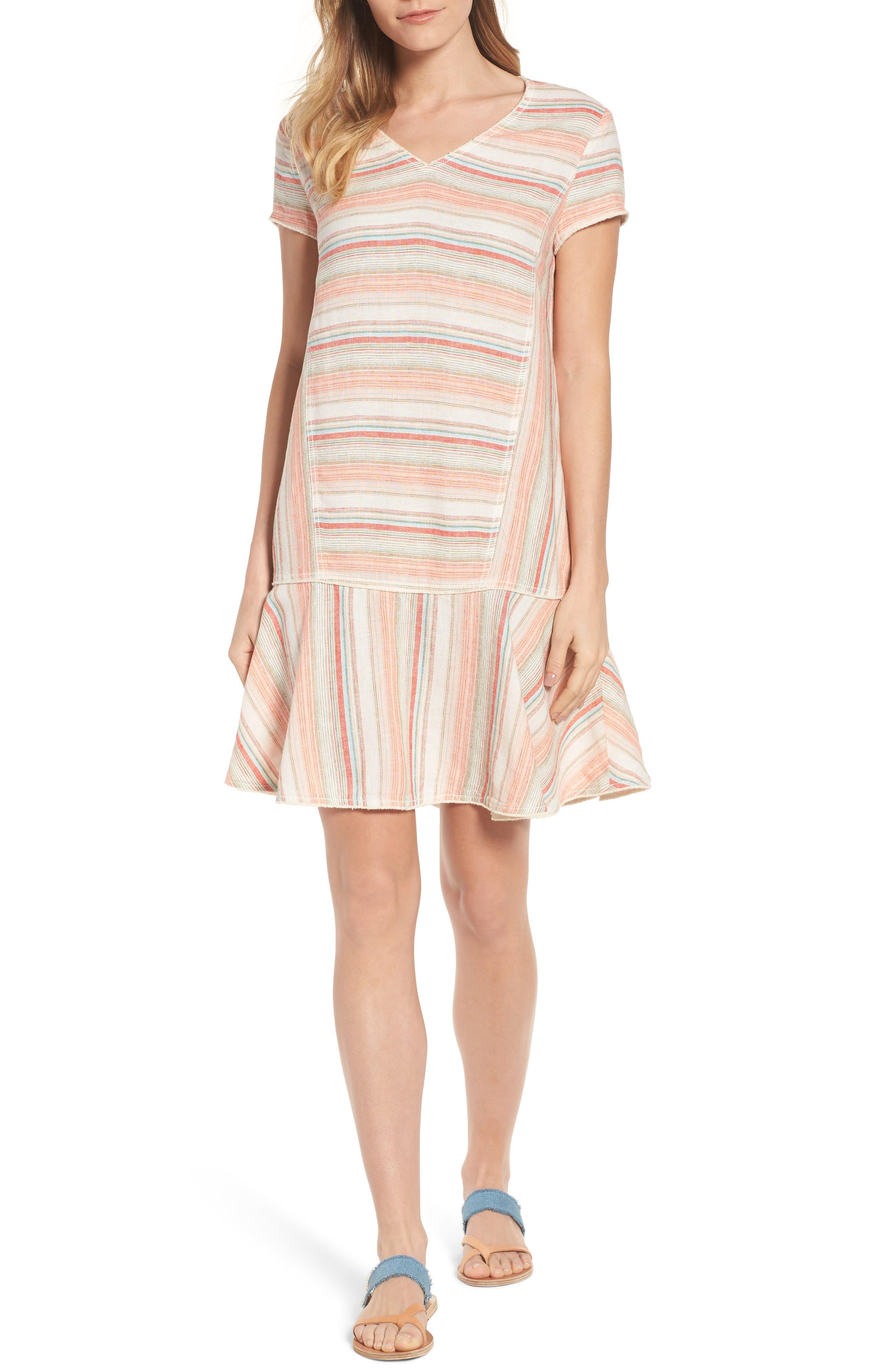 Caslon® Linen Blend Stripe Dress (Regular & Petite)