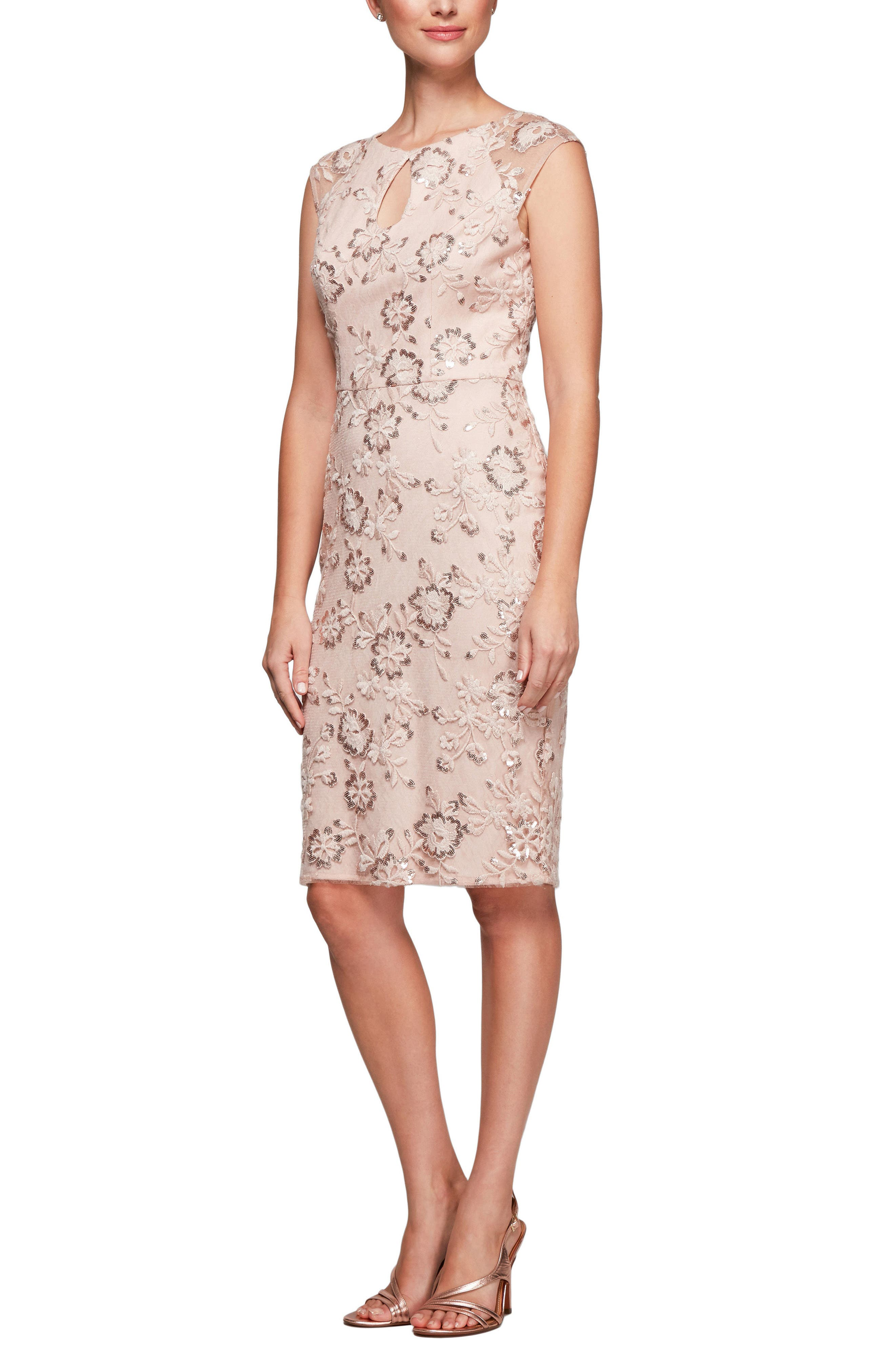 Embroidered Sheath Dress,                         Main,                         color, Pale Blush