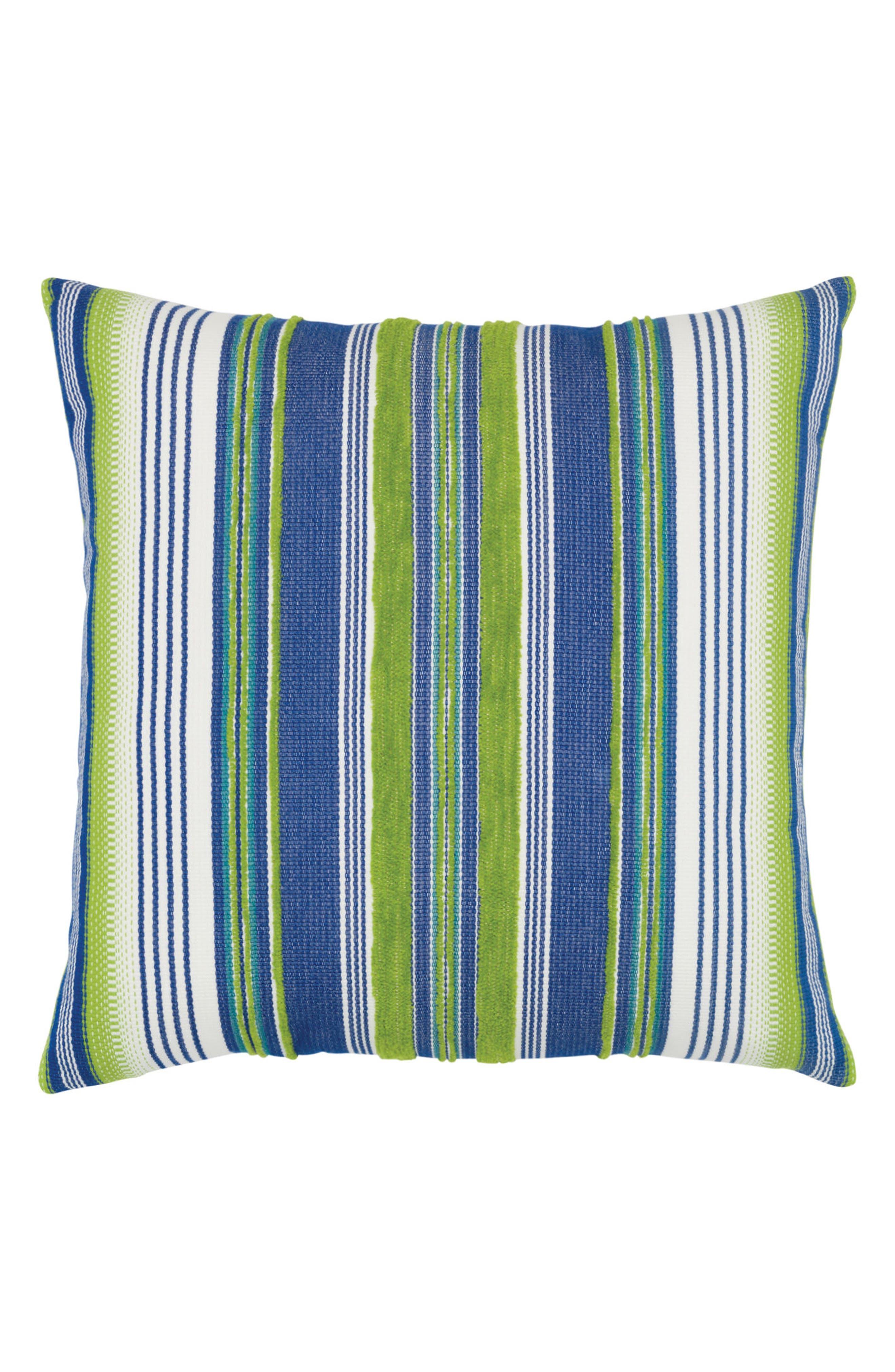 Deep Sea Stripe Indoor/Outdoor Accent Pillow,                             Main thumbnail 1, color,                             Blue/ Green