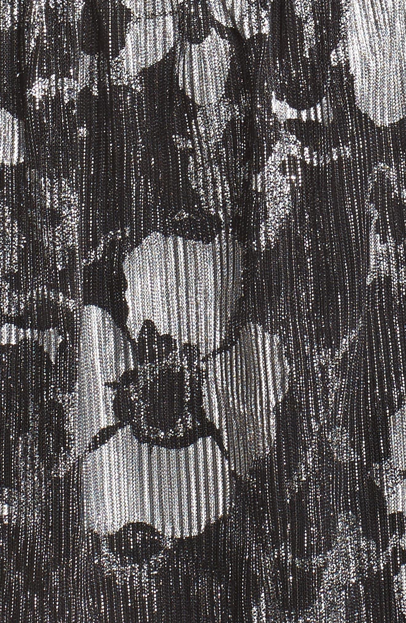 Floral Metallic Midi Dress,                             Alternate thumbnail 5, color,                             Black/ Silver Foil