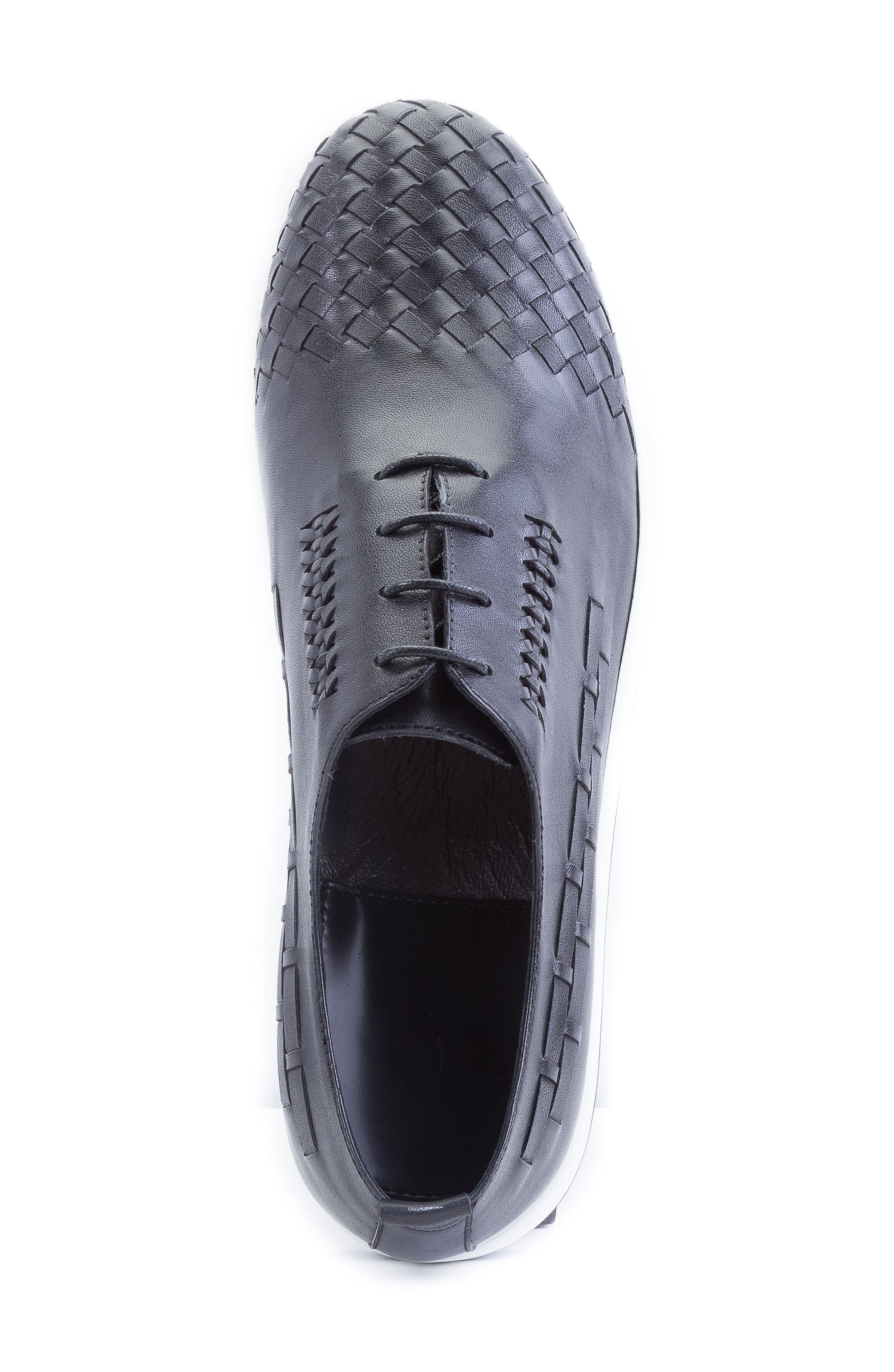 Digital Woven Cap Toe Sneaker,                             Alternate thumbnail 5, color,                             Black Leather