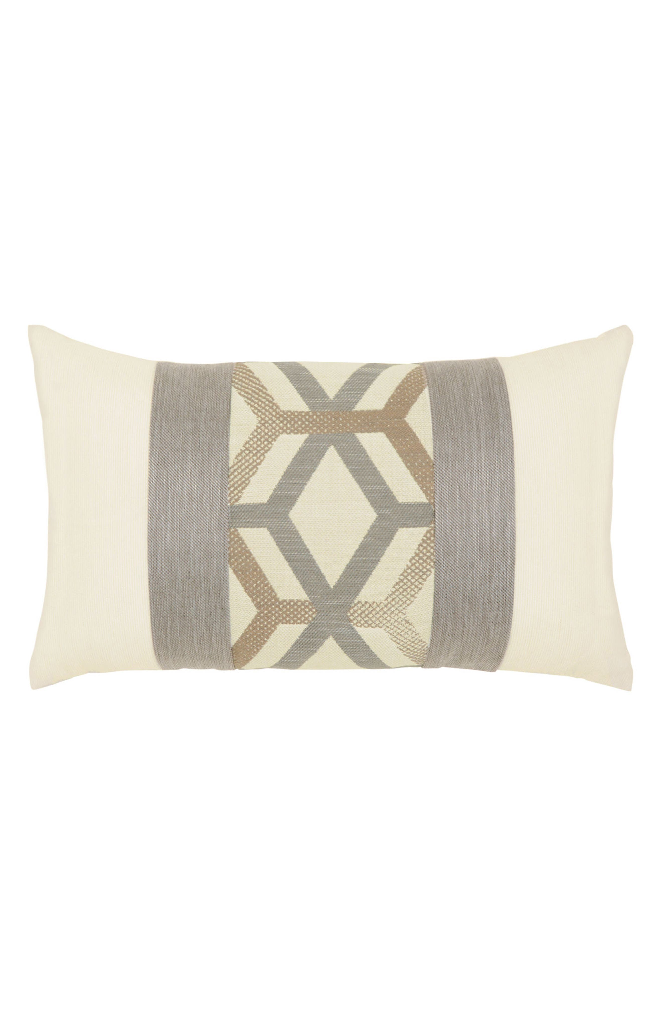 Lustrous Lines Lumbar Pillow,                         Main,                         color, Ivory/ Grey
