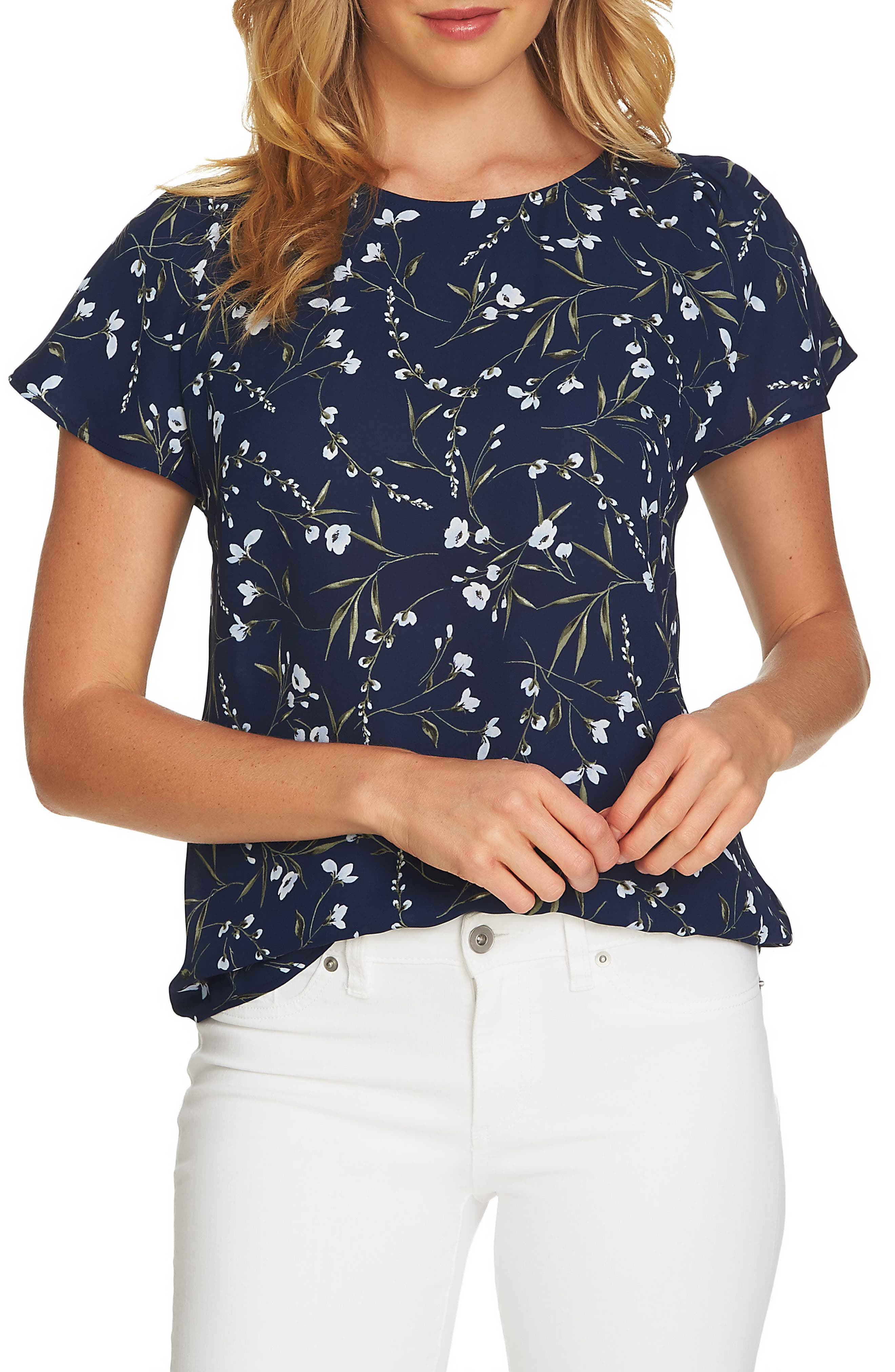 Graceful Flora Flutter Sleeve Blouse,                         Main,                         color, Naval Navy