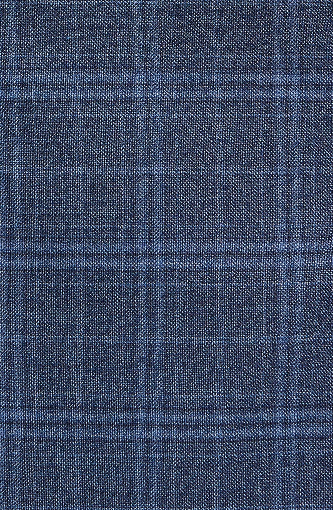 Hutsons Trim Fit Plaid Wool Sport Coat,                             Alternate thumbnail 5, color,                             Medium Blue/ Navy