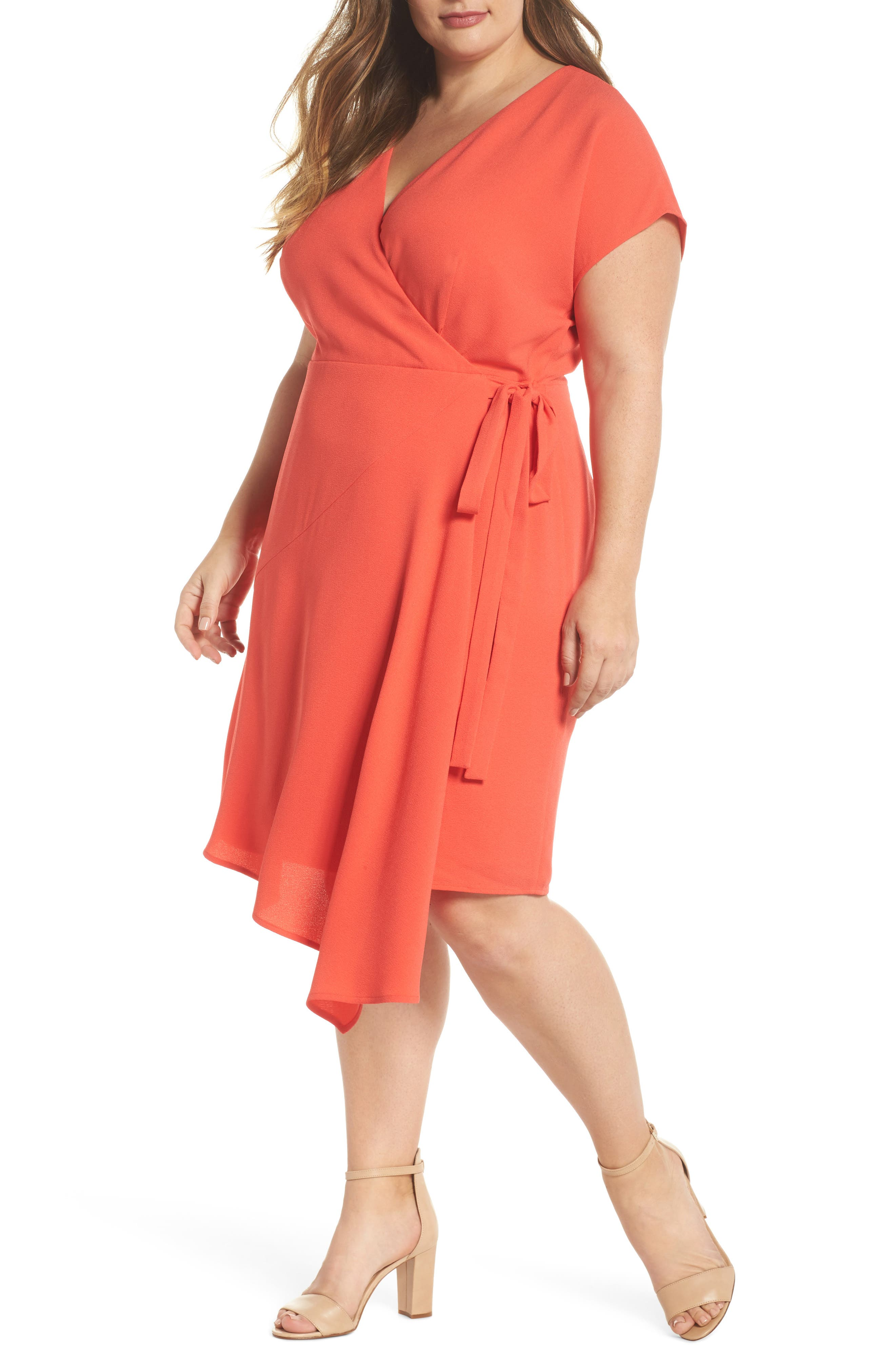 Crepe Surplice Dress,                         Main,                         color, Coral