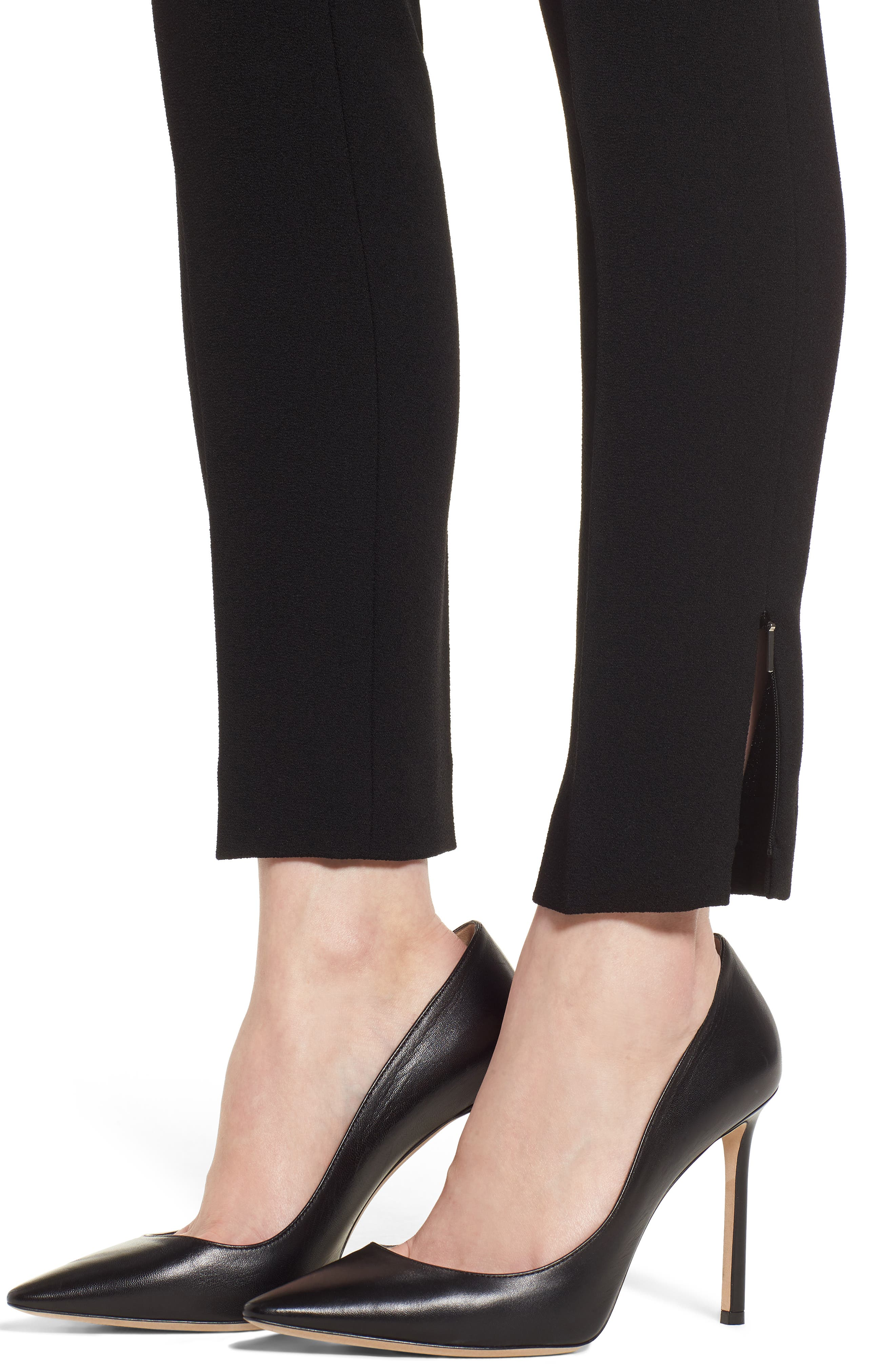 Timalea Compact Crepe Side Zip Slim Leg Trousers,                             Alternate thumbnail 4, color,                             Black