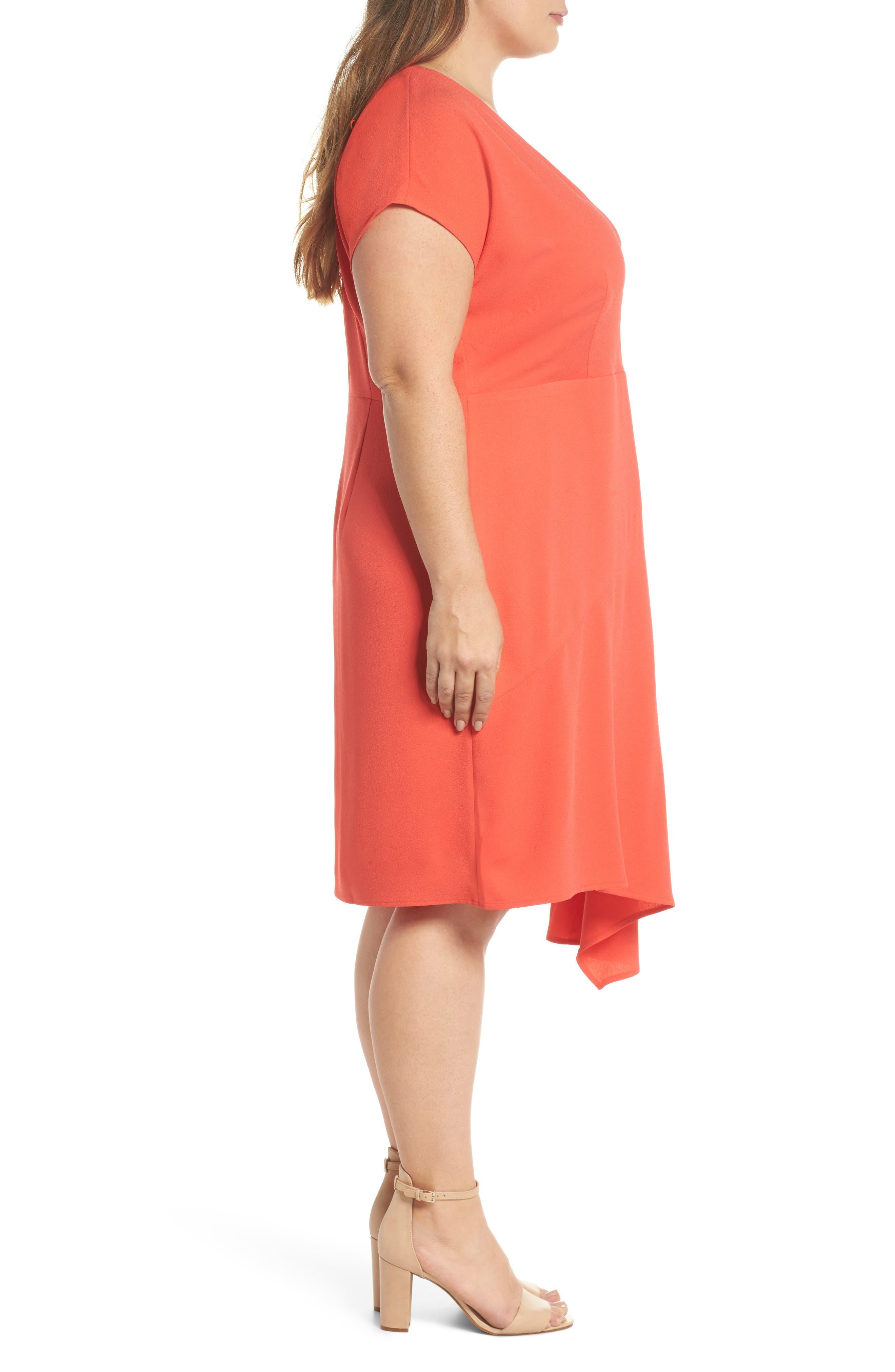Crepe Surplice Dress,                             Alternate thumbnail 3, color,                             Coral