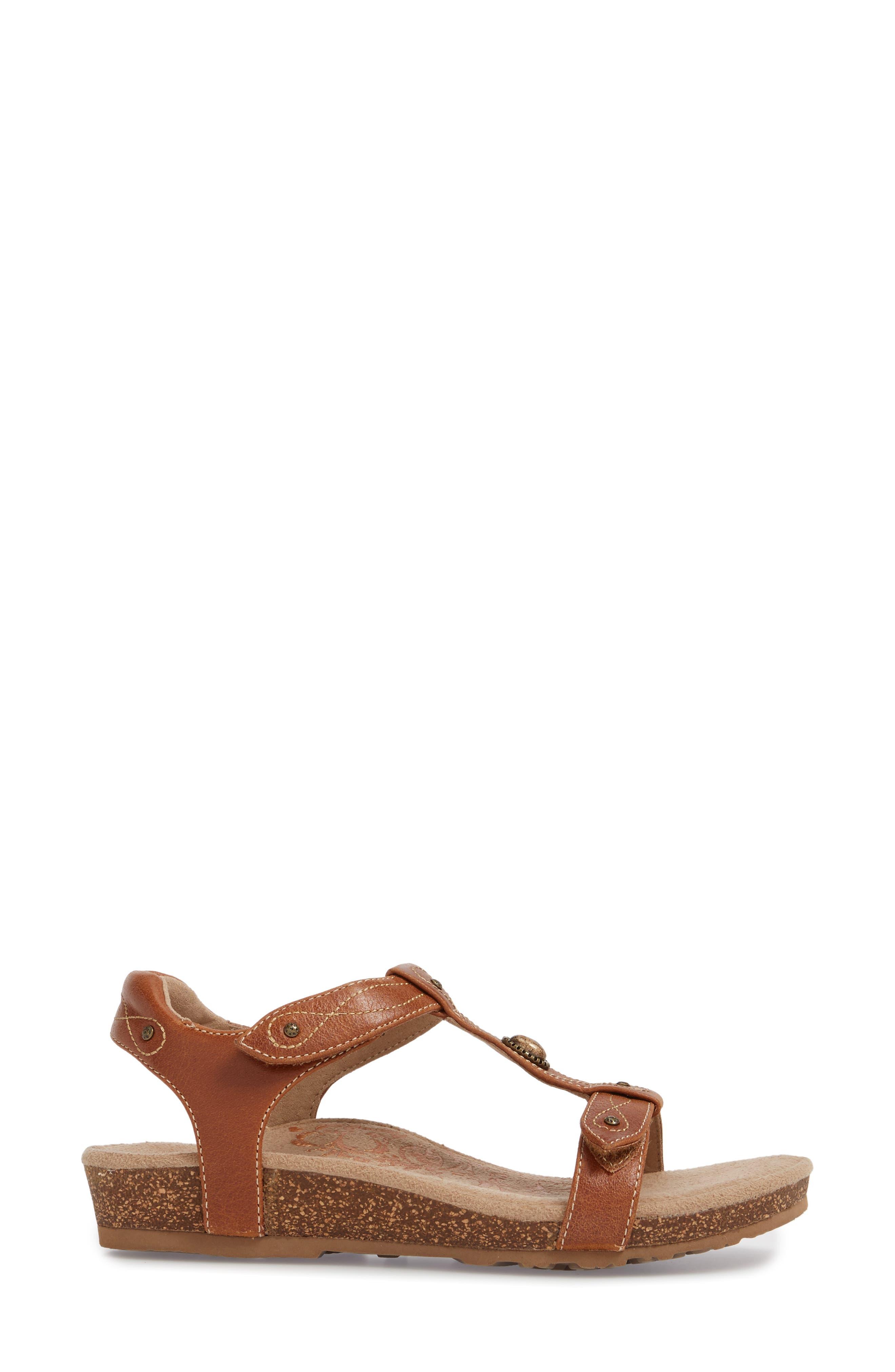 'Lori' Sandal,                             Alternate thumbnail 3, color,                             Cognac Leather