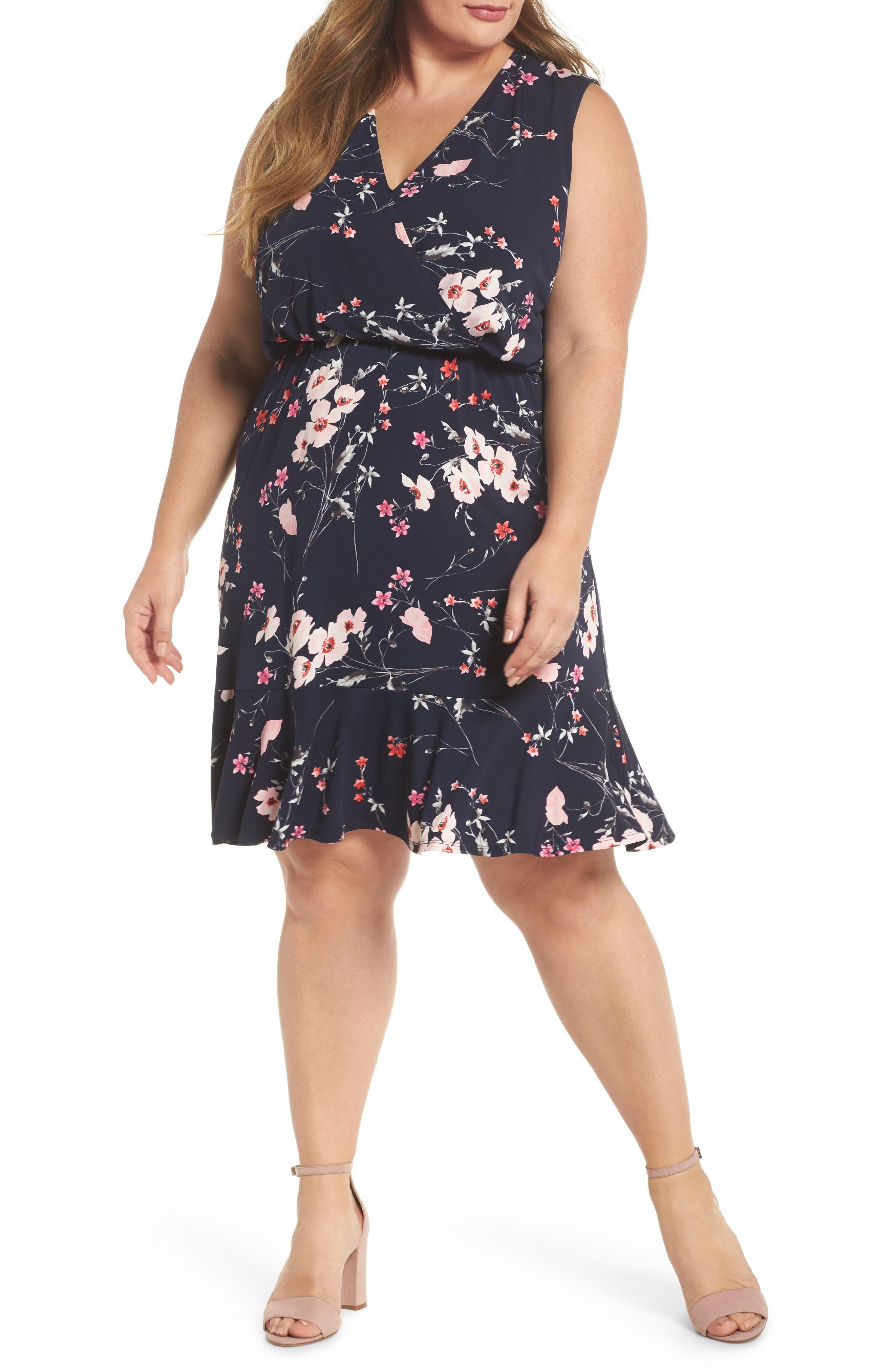 Floral Print Surplice Dress,                             Main thumbnail 1, color,                             Navy/ Pink
