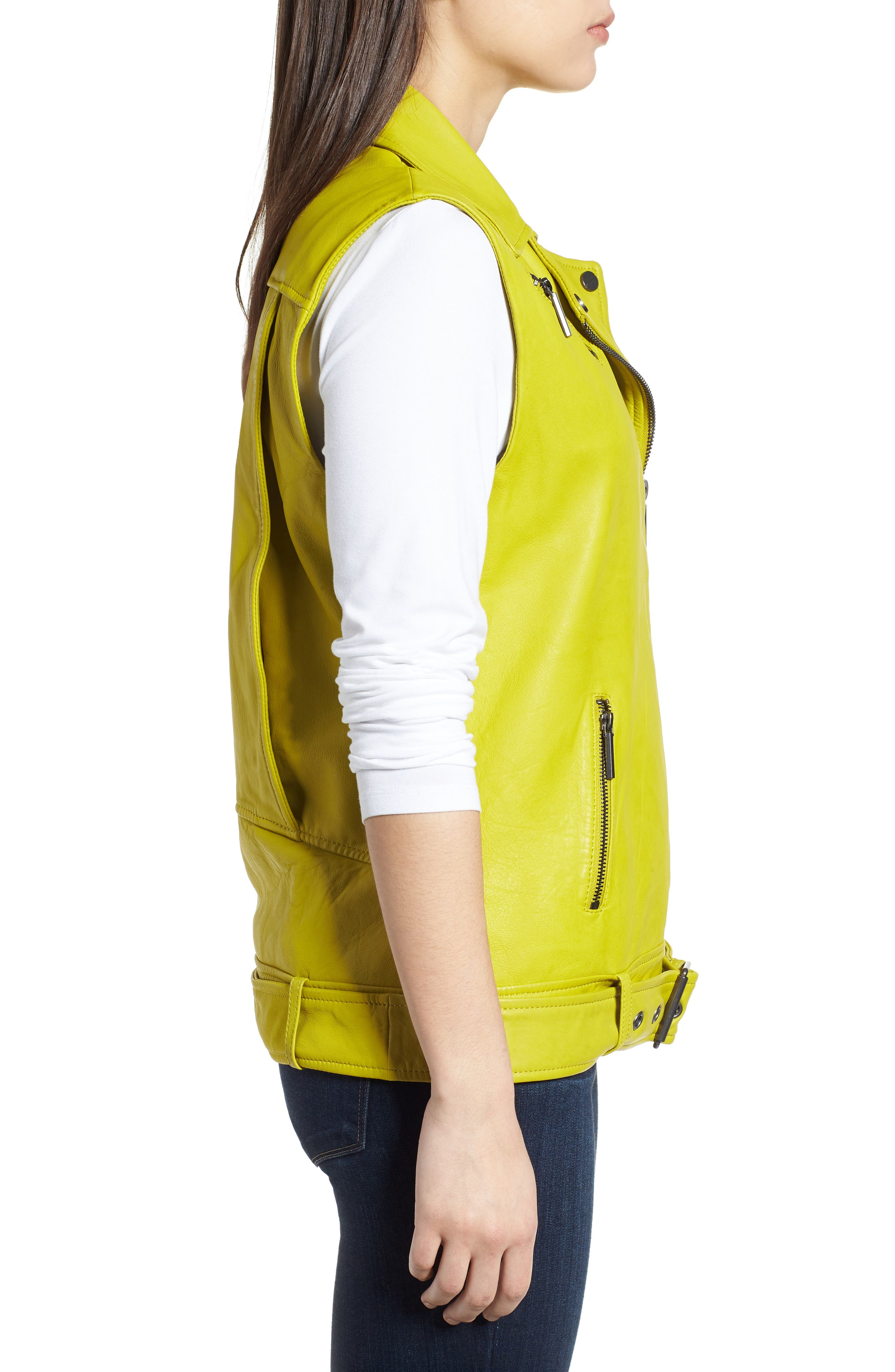 Washed Green Leather Moto Vest,                             Alternate thumbnail 3, color,                             Canary