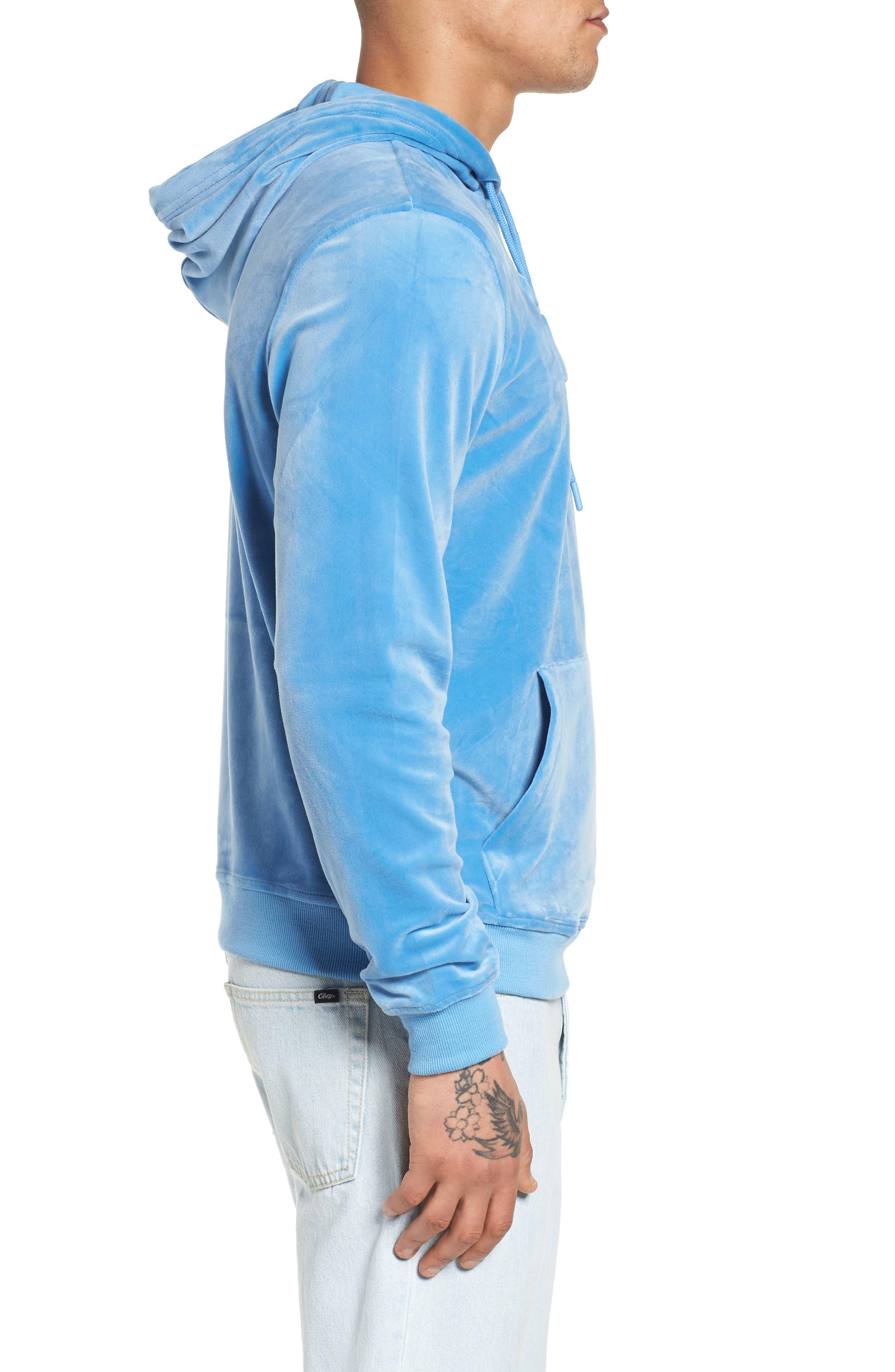 Asher Velour Hoodie Sweatshirt,                             Alternate thumbnail 3, color,                             Silver Lake Blue