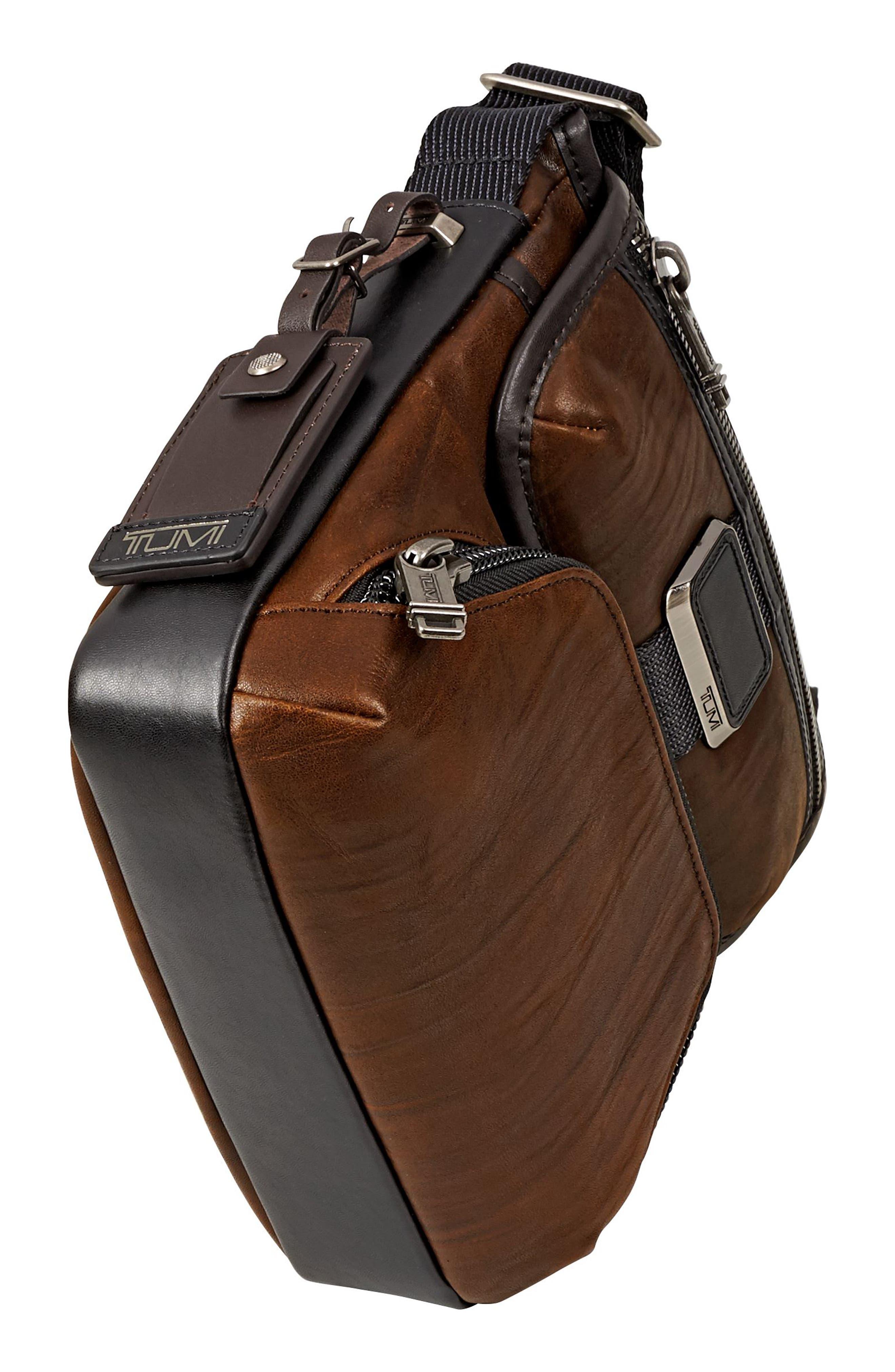 Alpha Bravo - Barton Leather Crossbody Bag,                             Alternate thumbnail 5, color,                             Dark Brown