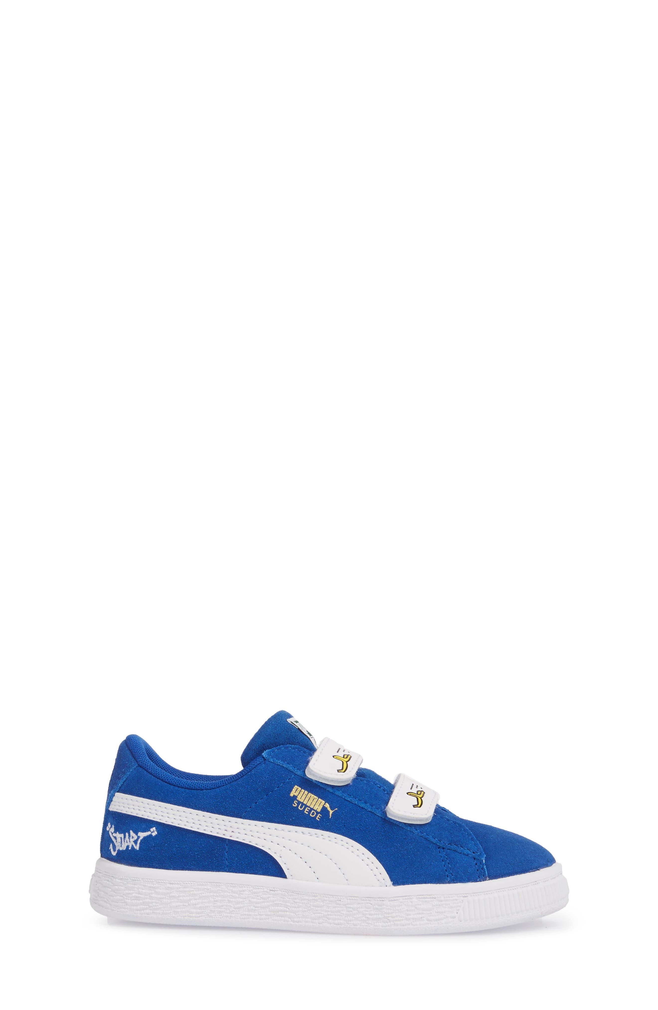 x Minions Suede V Sneaker,                             Alternate thumbnail 3, color,                             Olympian Blue/ Puma White