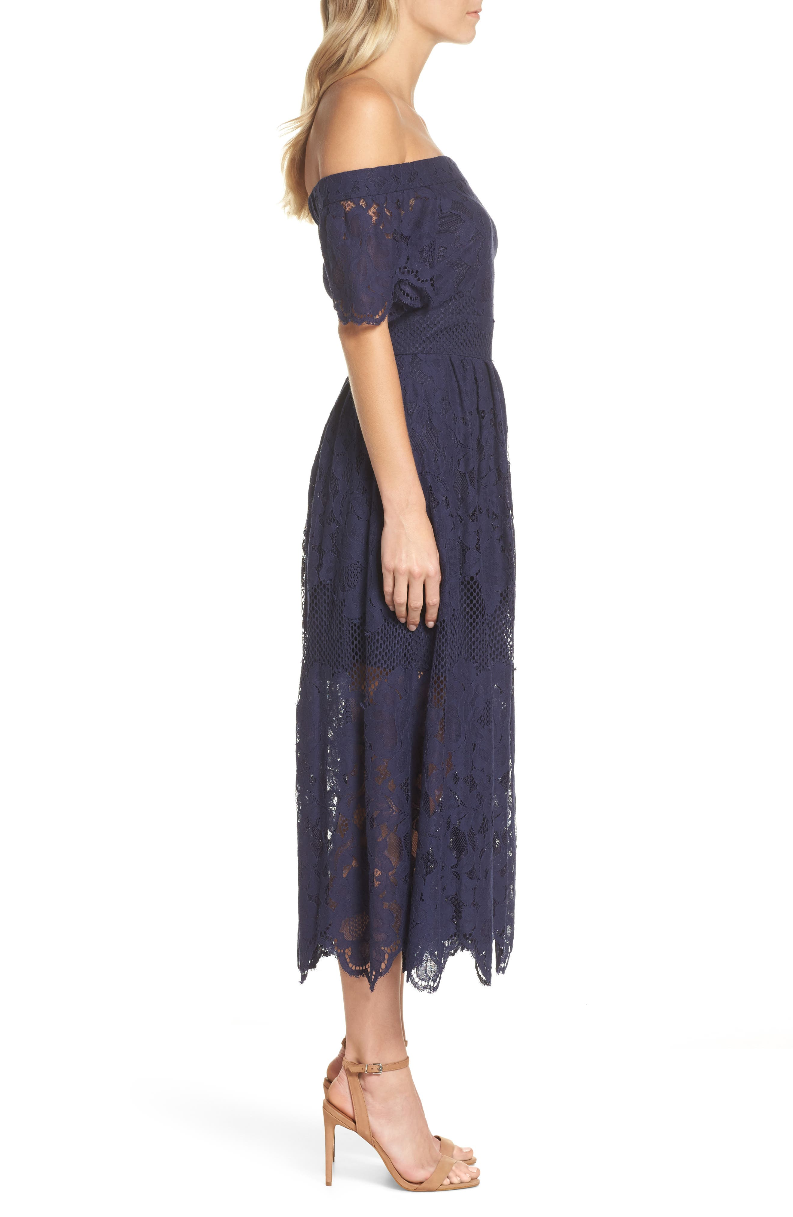 Off the Shoulder Lace Midi Dress,                             Alternate thumbnail 3, color,                             Navy