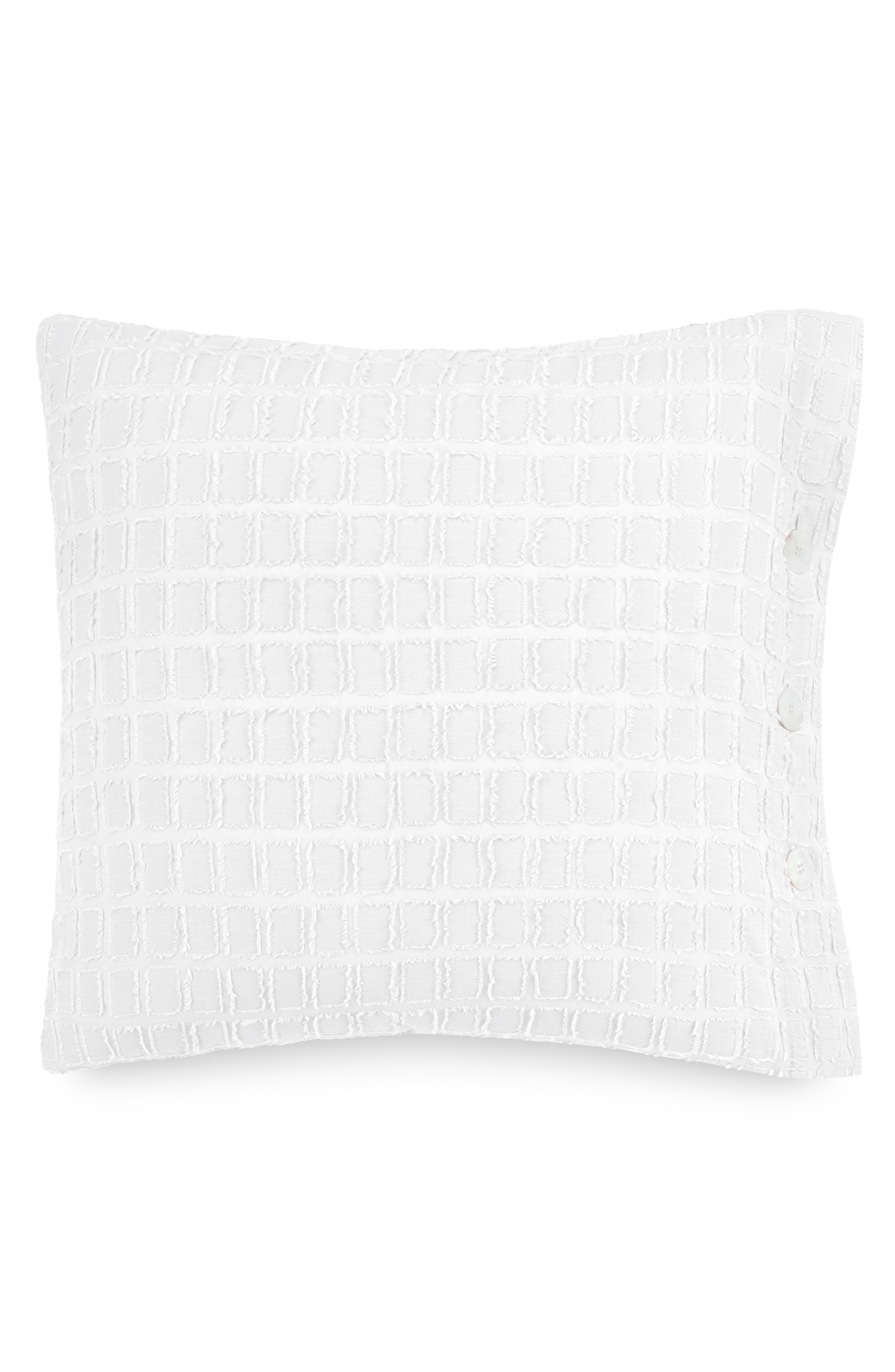 Blink Fringe Euro Sham,                         Main,                         color, Snow
