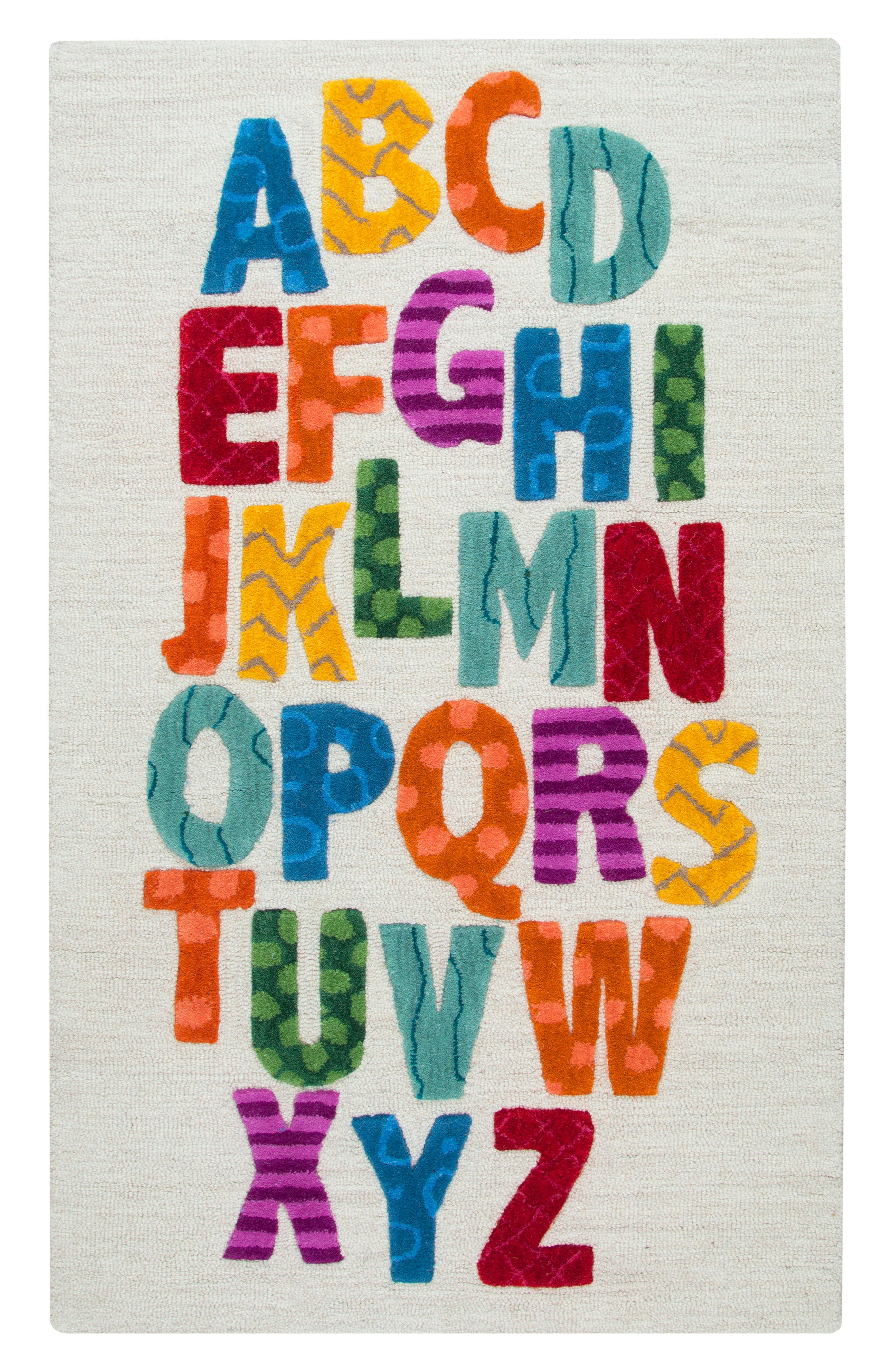 Play Day Alphabet Rug,                             Main thumbnail 1, color,                             Ivory