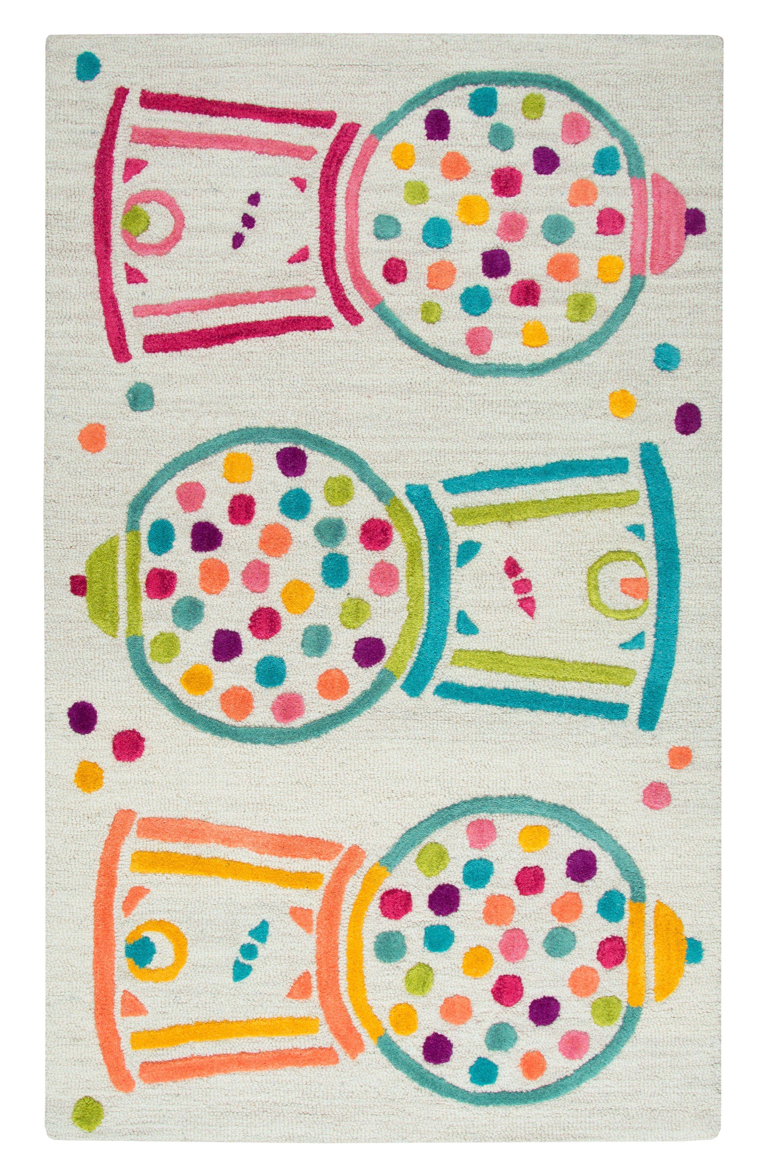 Play Day Gumball Rug,                         Main,                         color, Ivory