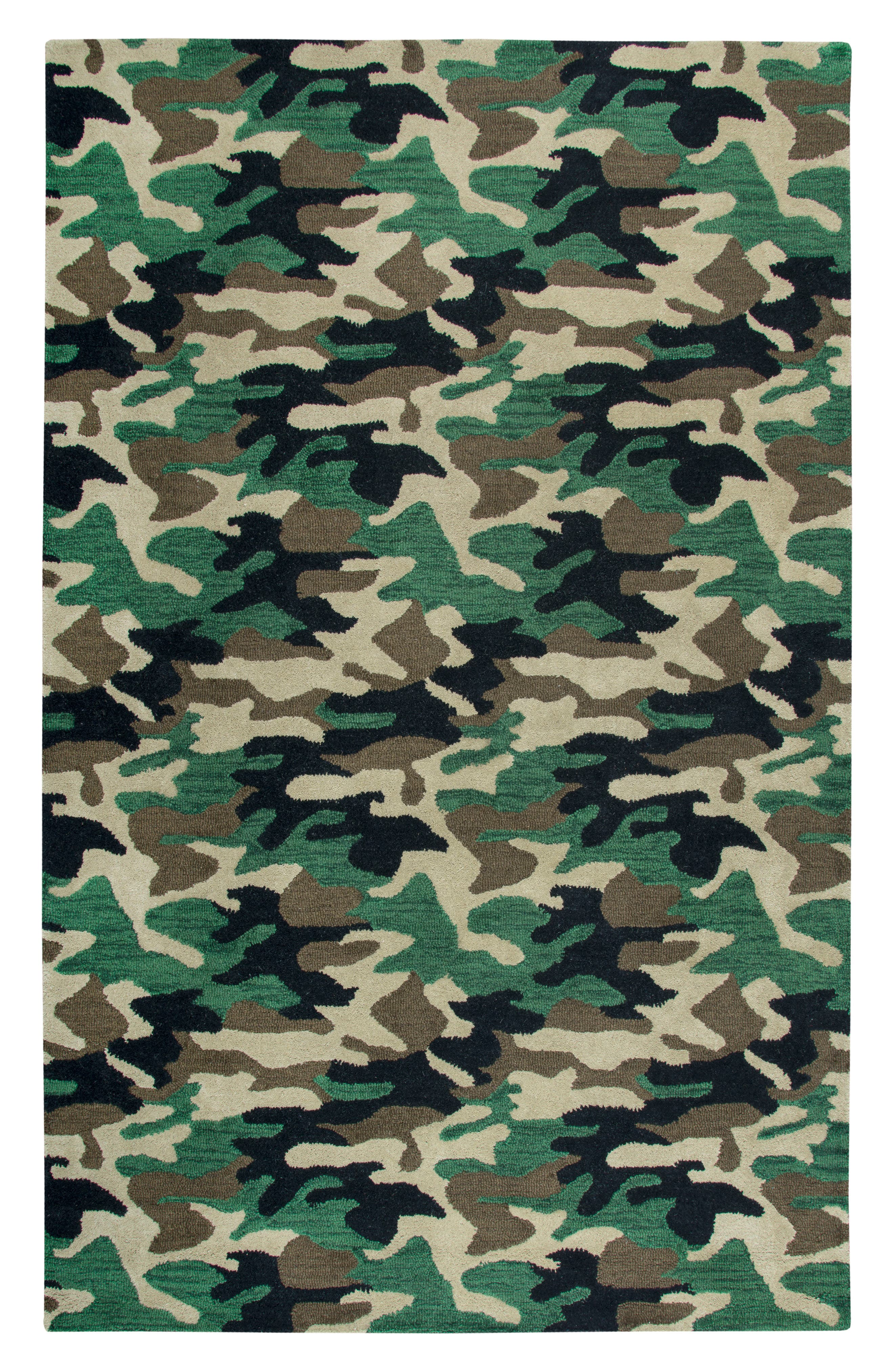 Play Day Camouflage Rug,                             Main thumbnail 1, color,                             Green