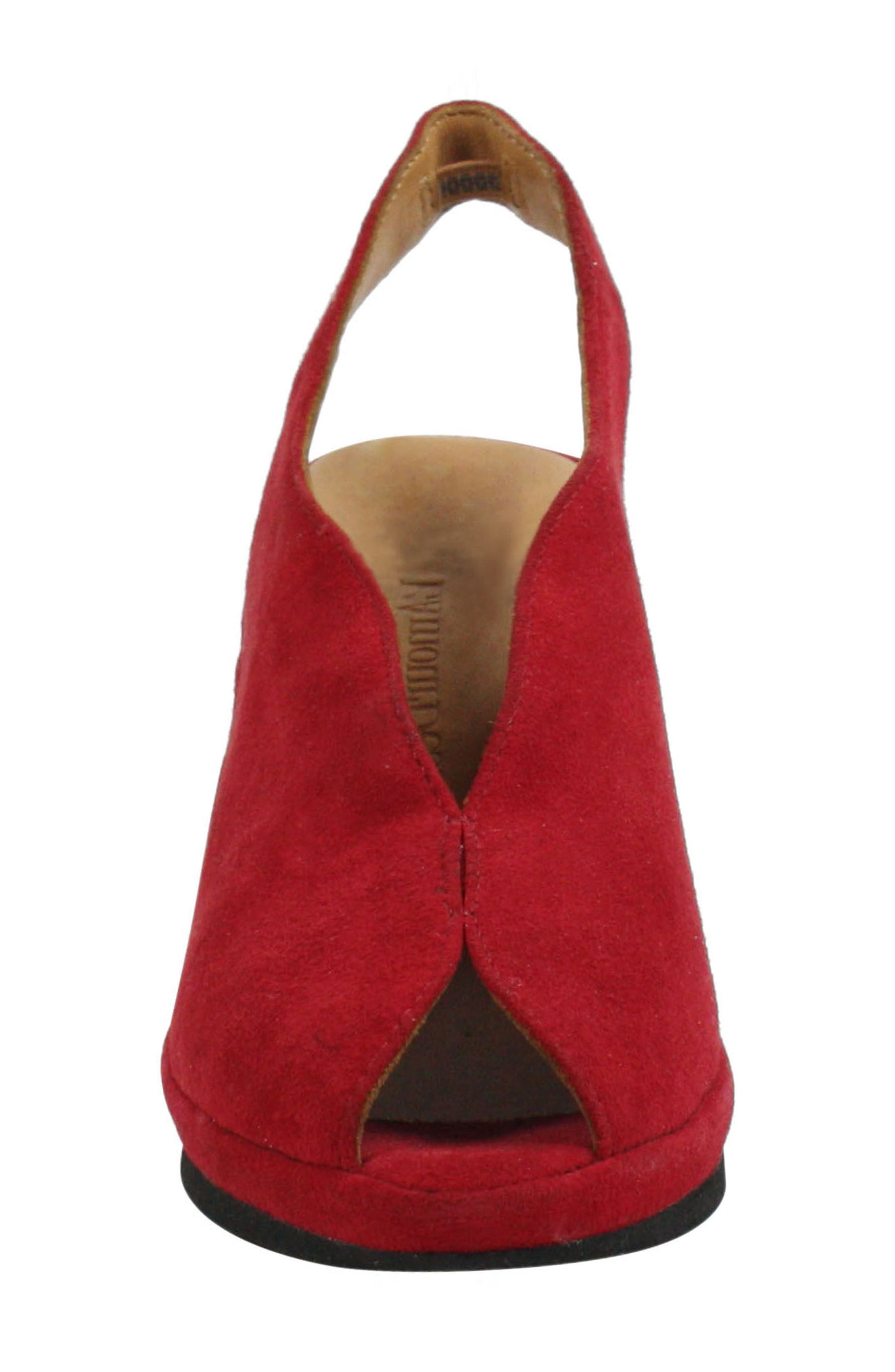 Odetta Slingback Wedge,                             Alternate thumbnail 4, color,                             Bright Red Suede