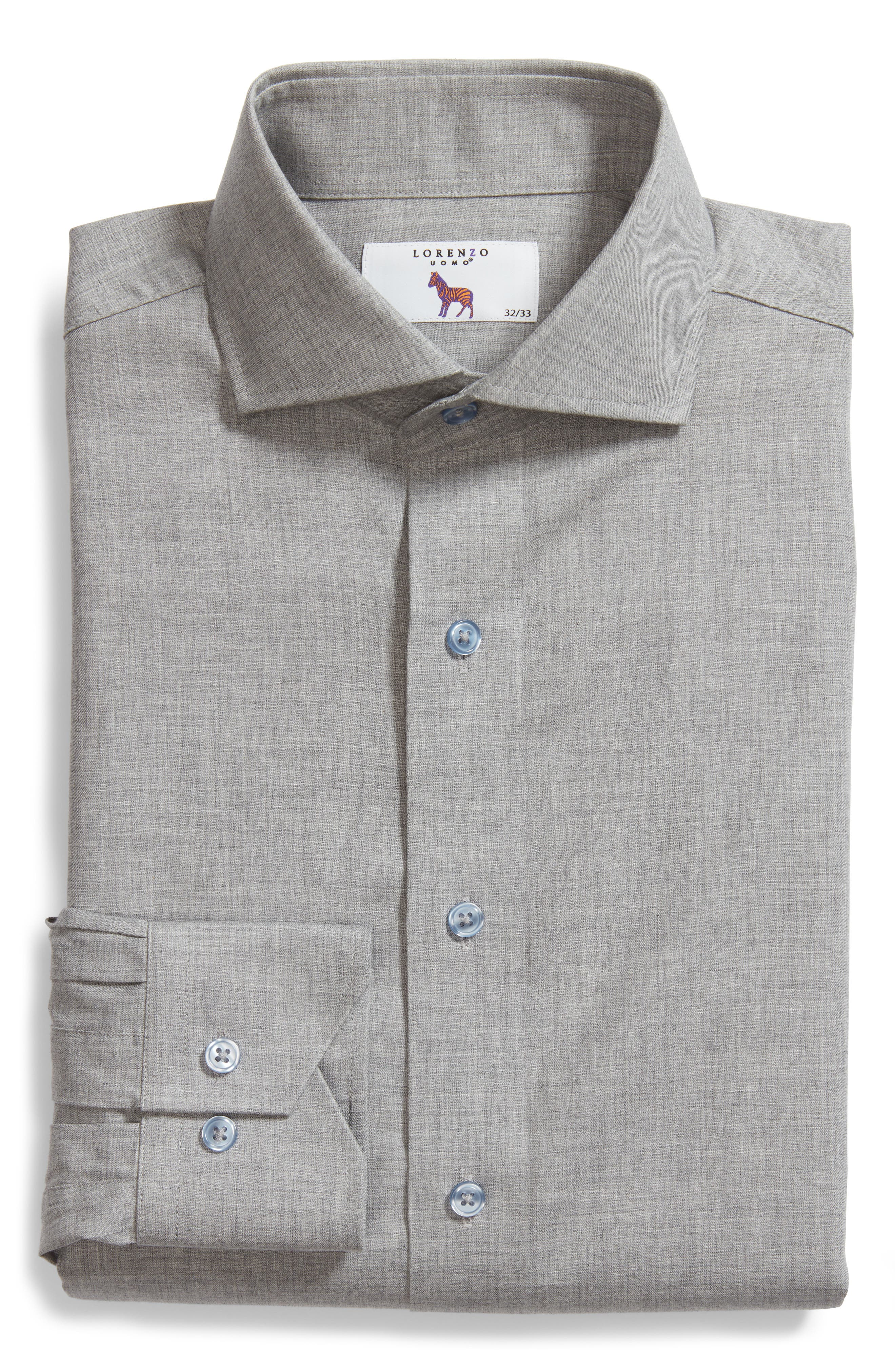 Trim Fit Solid Dress Shirt,                             Alternate thumbnail 6, color,                             Light Grey