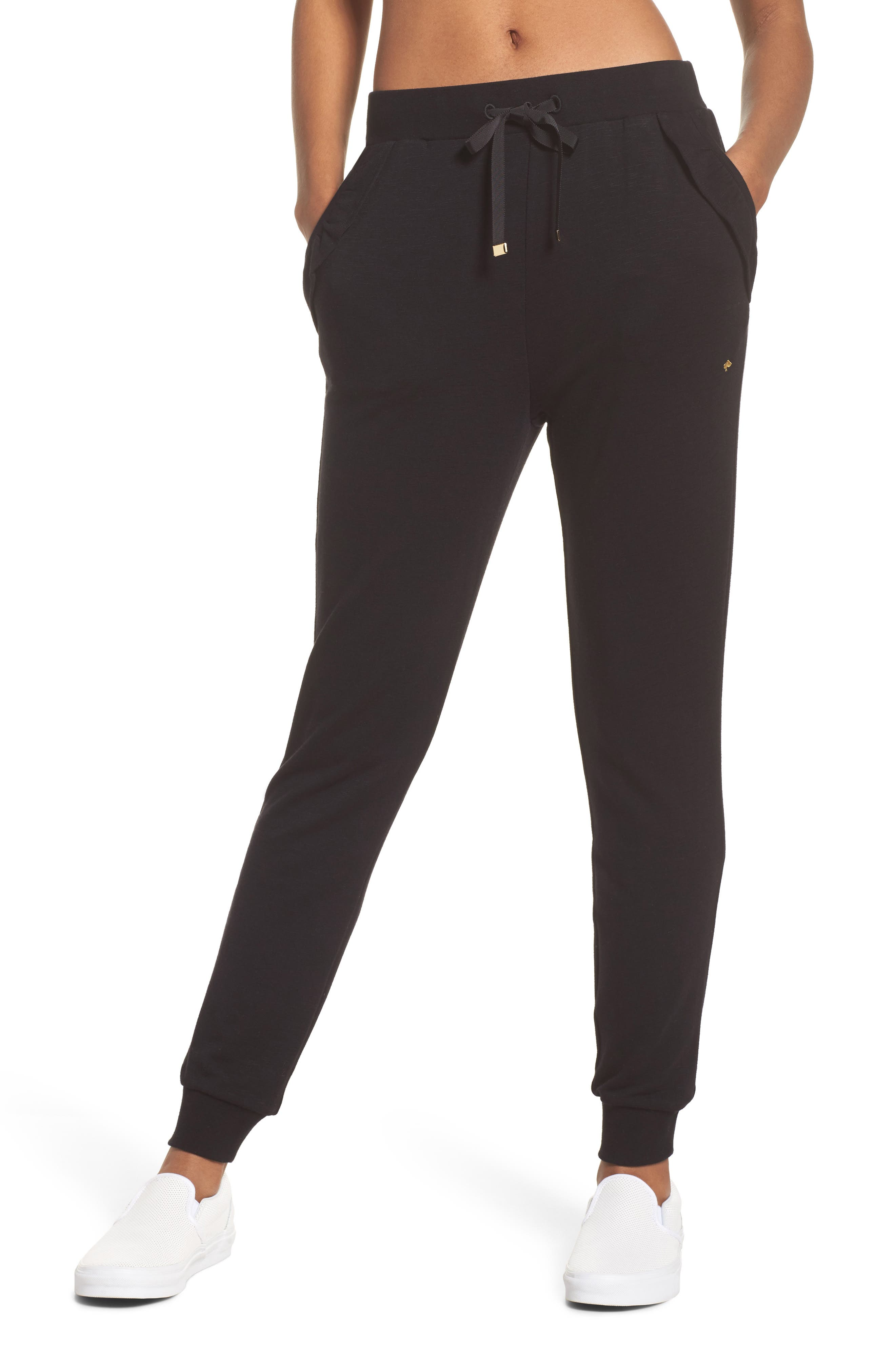 ruffle sweatpants,                         Main,                         color, Black