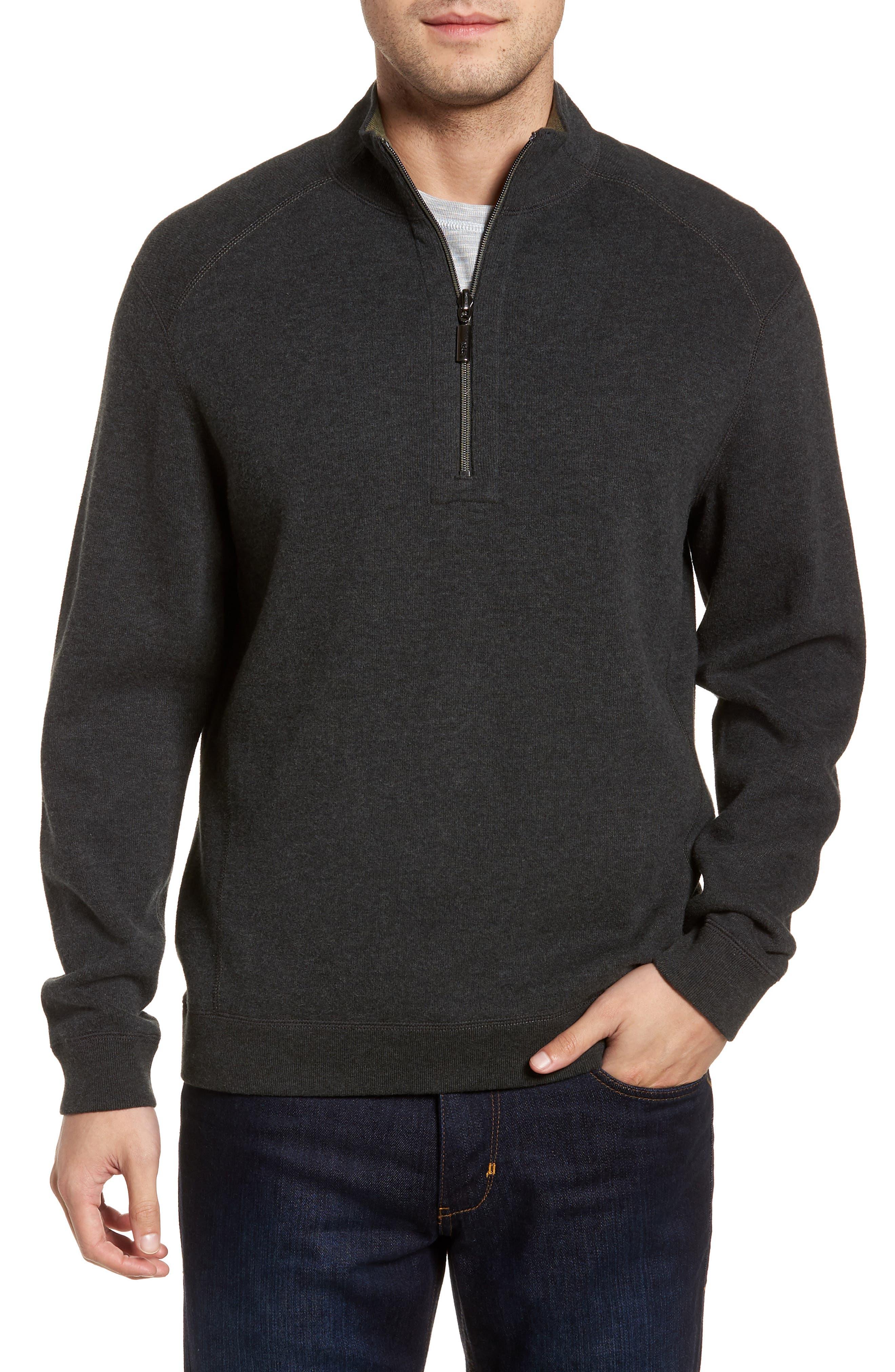 Flip Side Reversible Quarter Zip Pullover,                             Main thumbnail 1, color,                             Steel Wool Heather