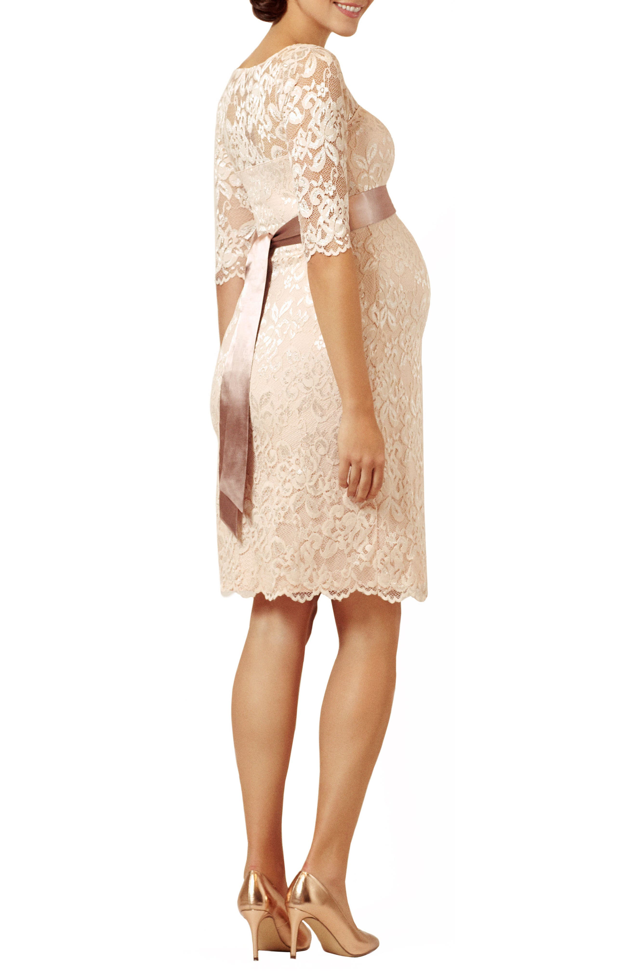 Amelia Lace Maternity Sheath Dress,                             Alternate thumbnail 2, color,                             Pearl Blush