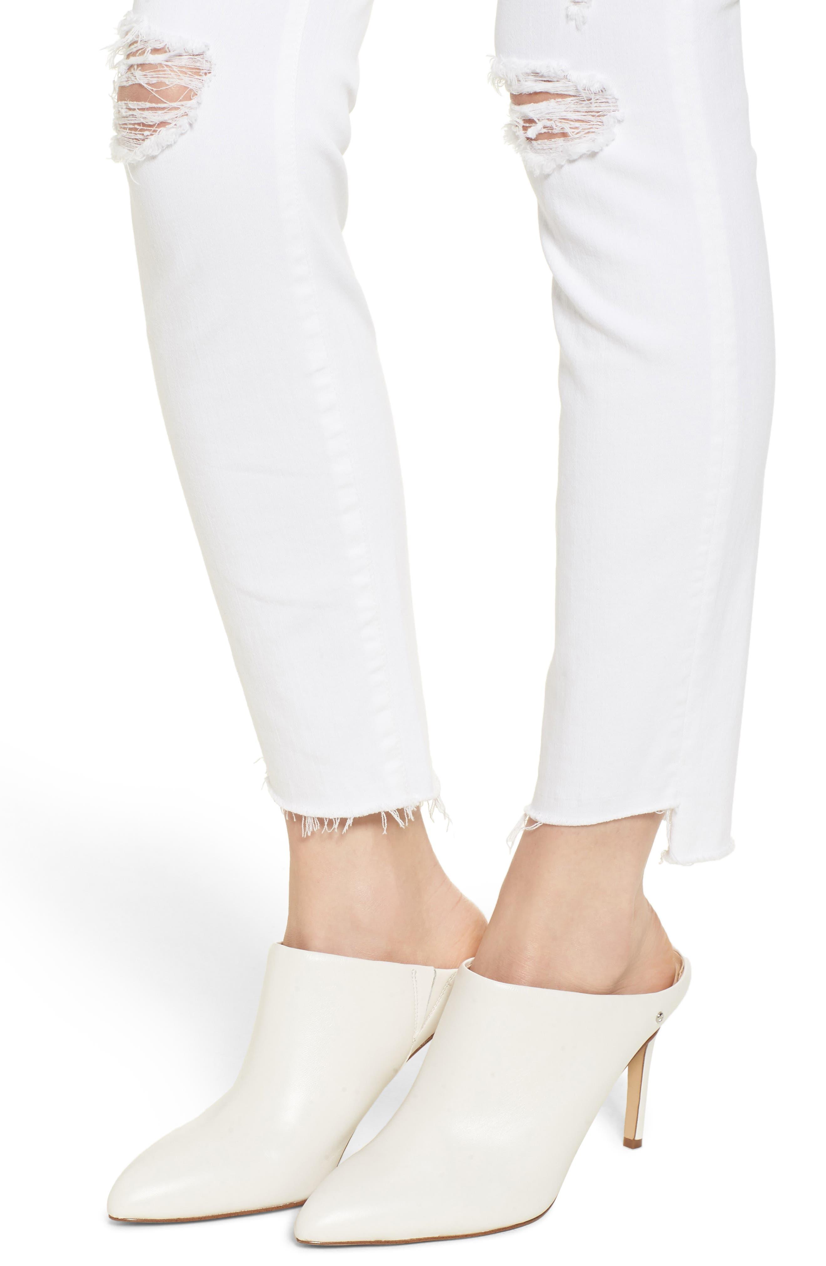 The Stunner High Waist Fray Ankle Skinny Jeans,                             Alternate thumbnail 4, color,                             Little Miss Innocent