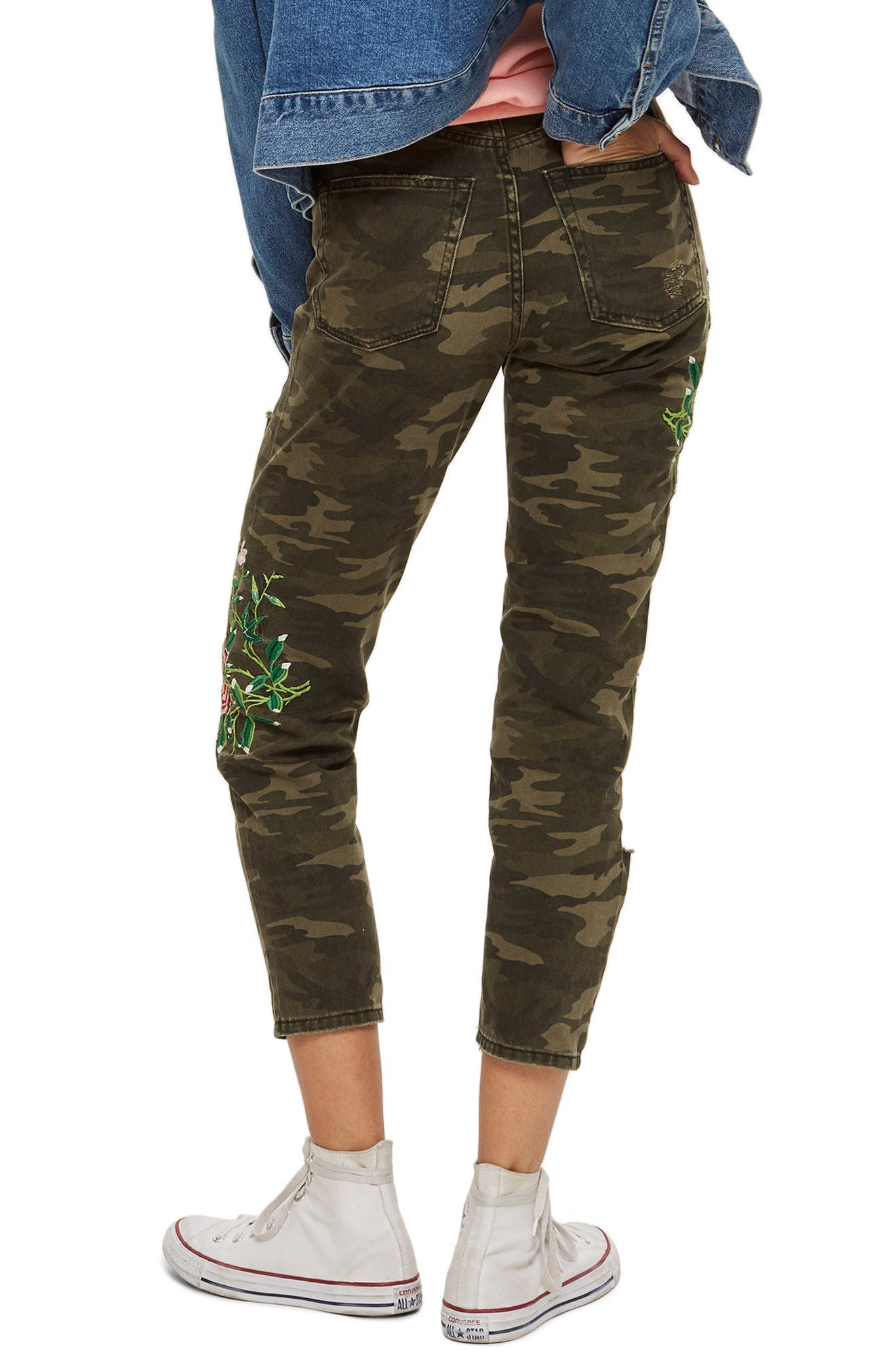 Embroidered Camo Mom Jeans,                             Alternate thumbnail 3, color,                             Olive Multi