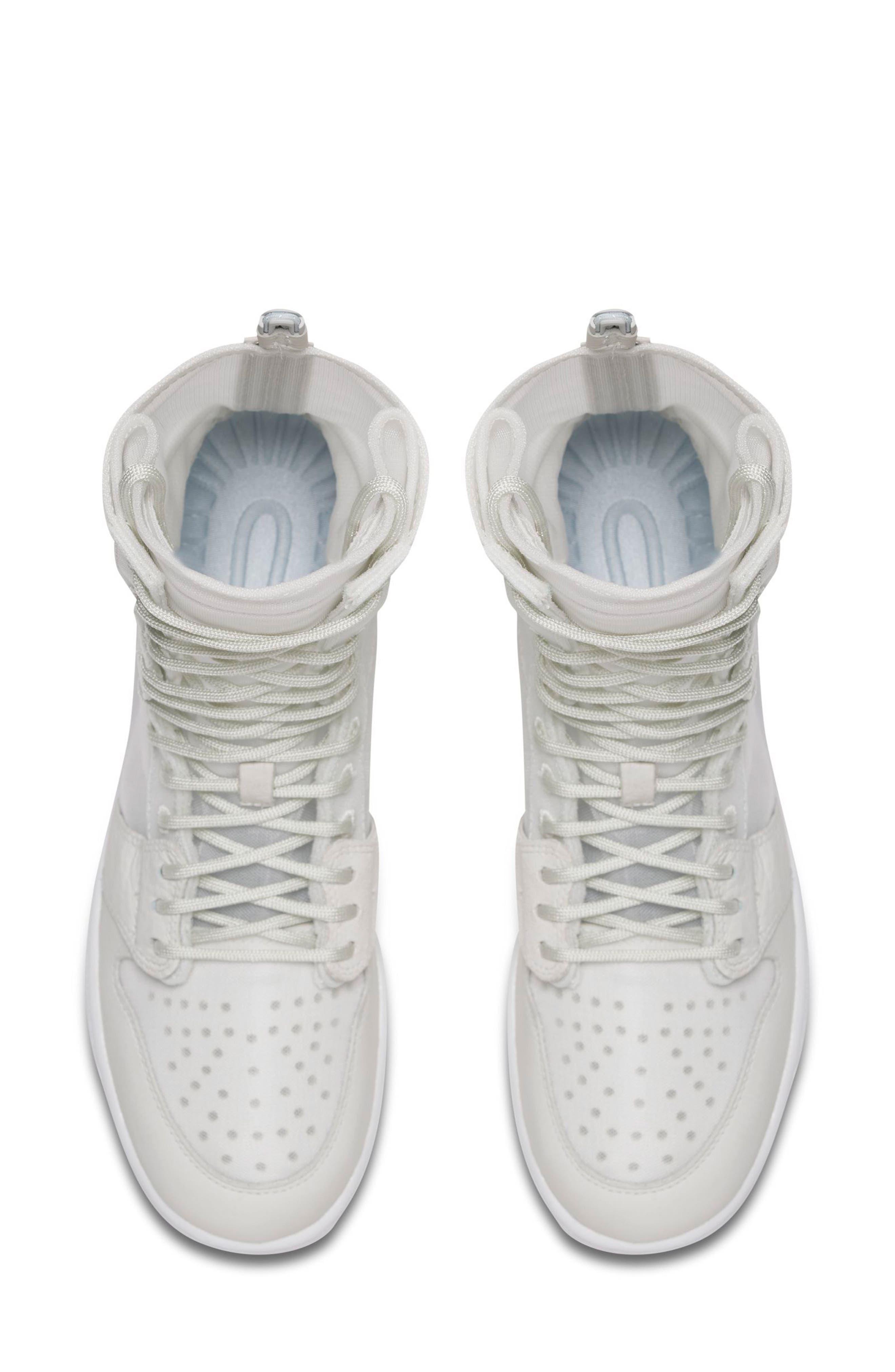 Air Jordan 1 Explorer XX Convertible High Top Sneaker,                             Alternate thumbnail 4, color,                             Off White/ Off White