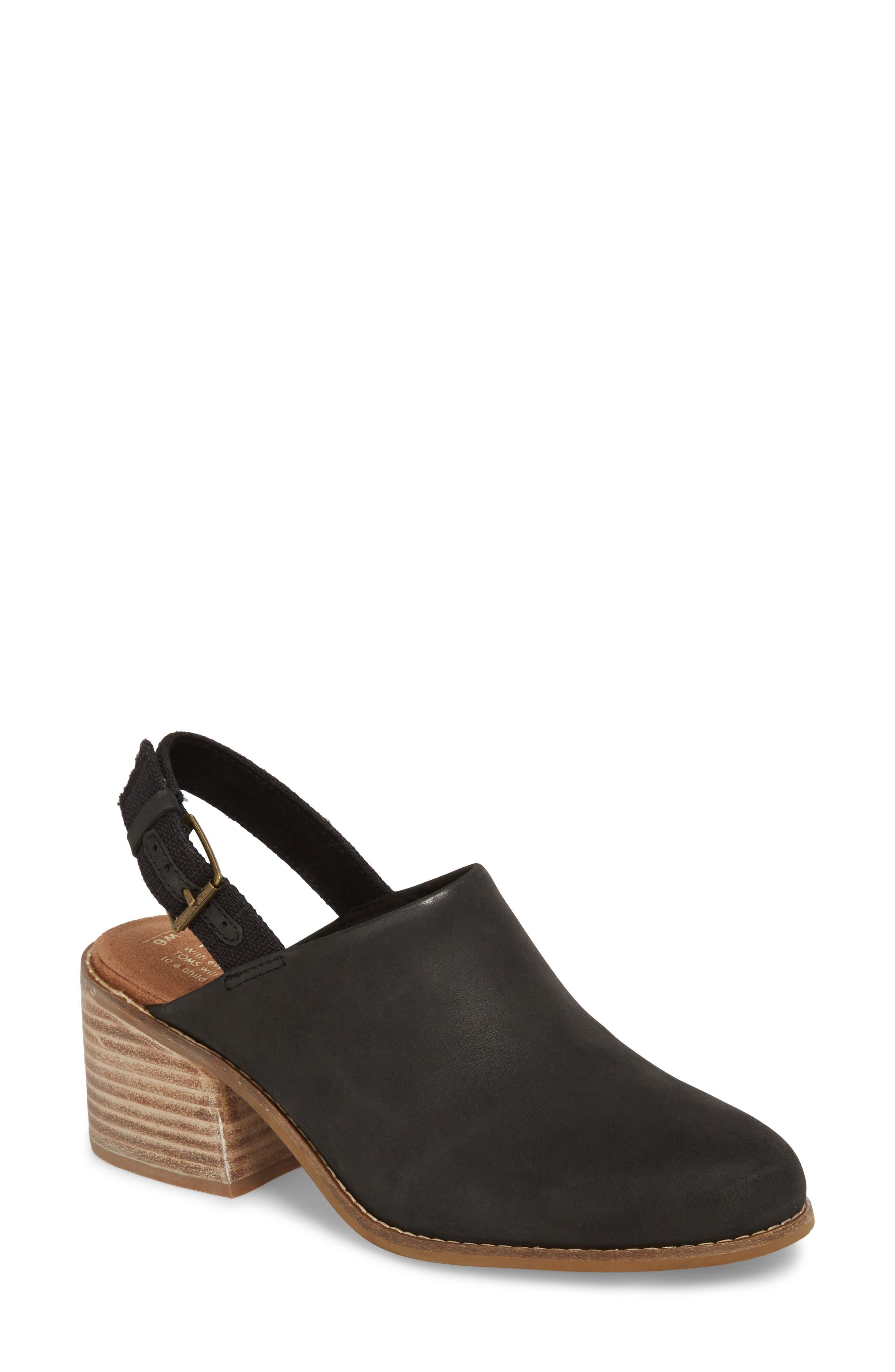 Leila Slingback Sandal,                             Main thumbnail 1, color,                             Black Leather