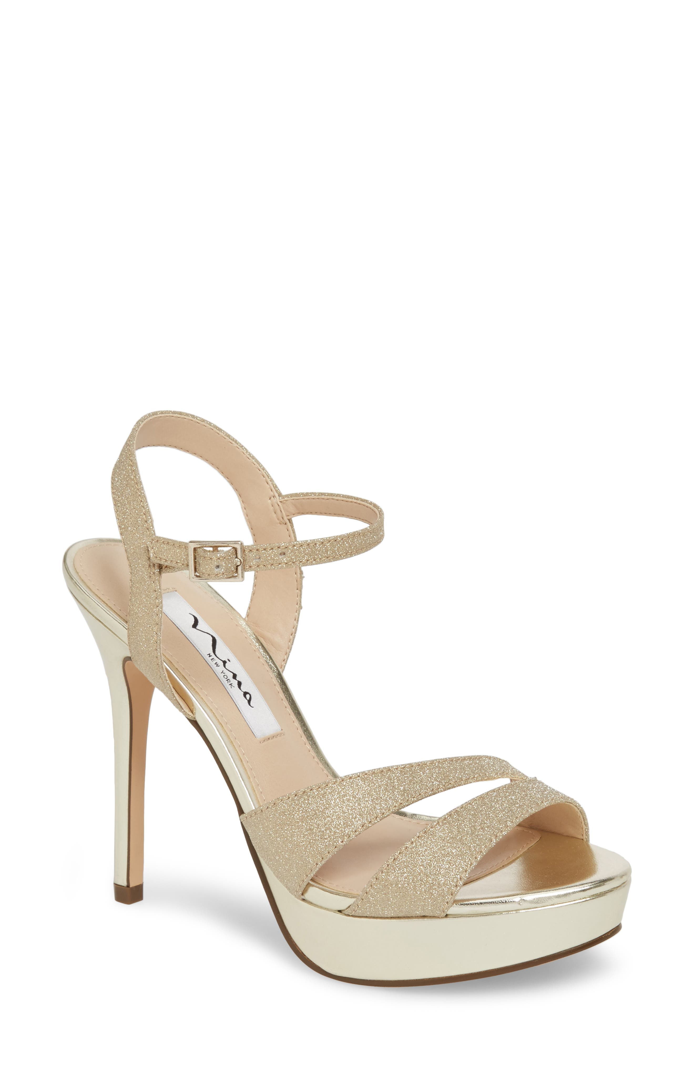 Silana Platform Sandal,                             Main thumbnail 1, color,                             Gold Glitter Fabric