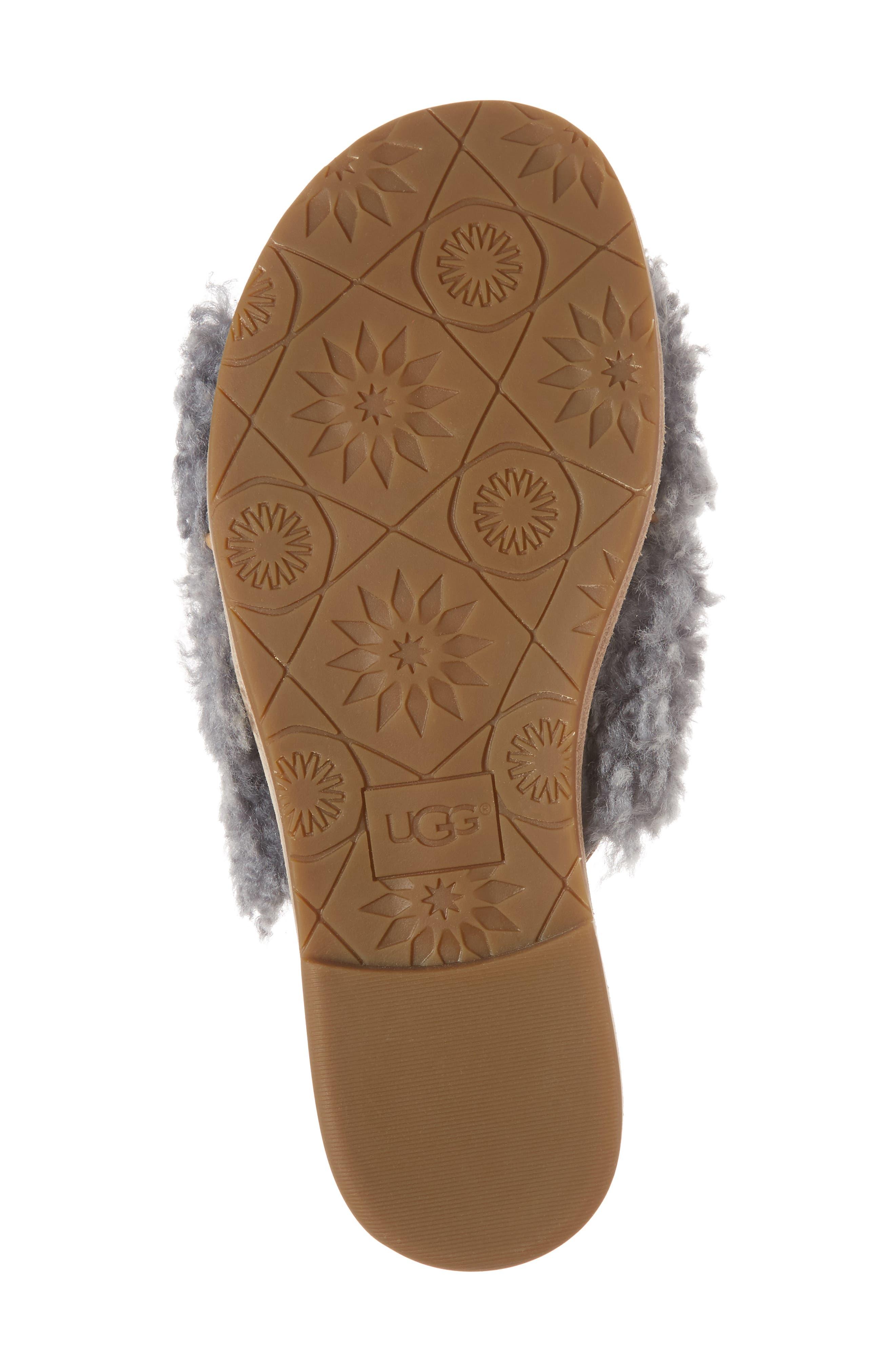 Joni Genuine Shearling Slide Sandal,                             Alternate thumbnail 6, color,                             Lude Grey